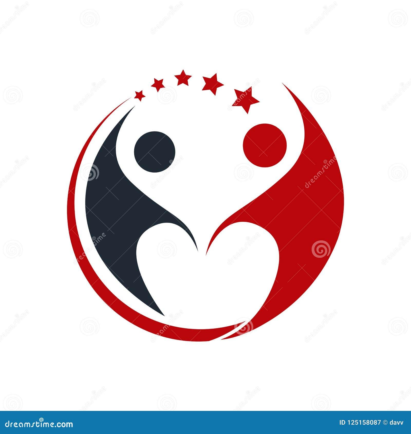 Concept simple pour le logo coloré de personnes de la communauté Commun de personnes