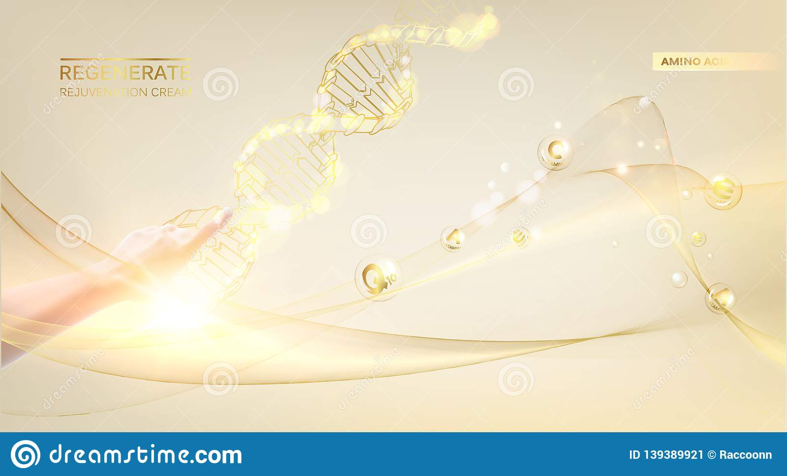 Concept Skincare Cosmetic Regenerate Cream And Vitamin Background Sepia Banner With A Dna Molecule Of Polygons Stock Vector Illustration Of Illustration Formula 139389921