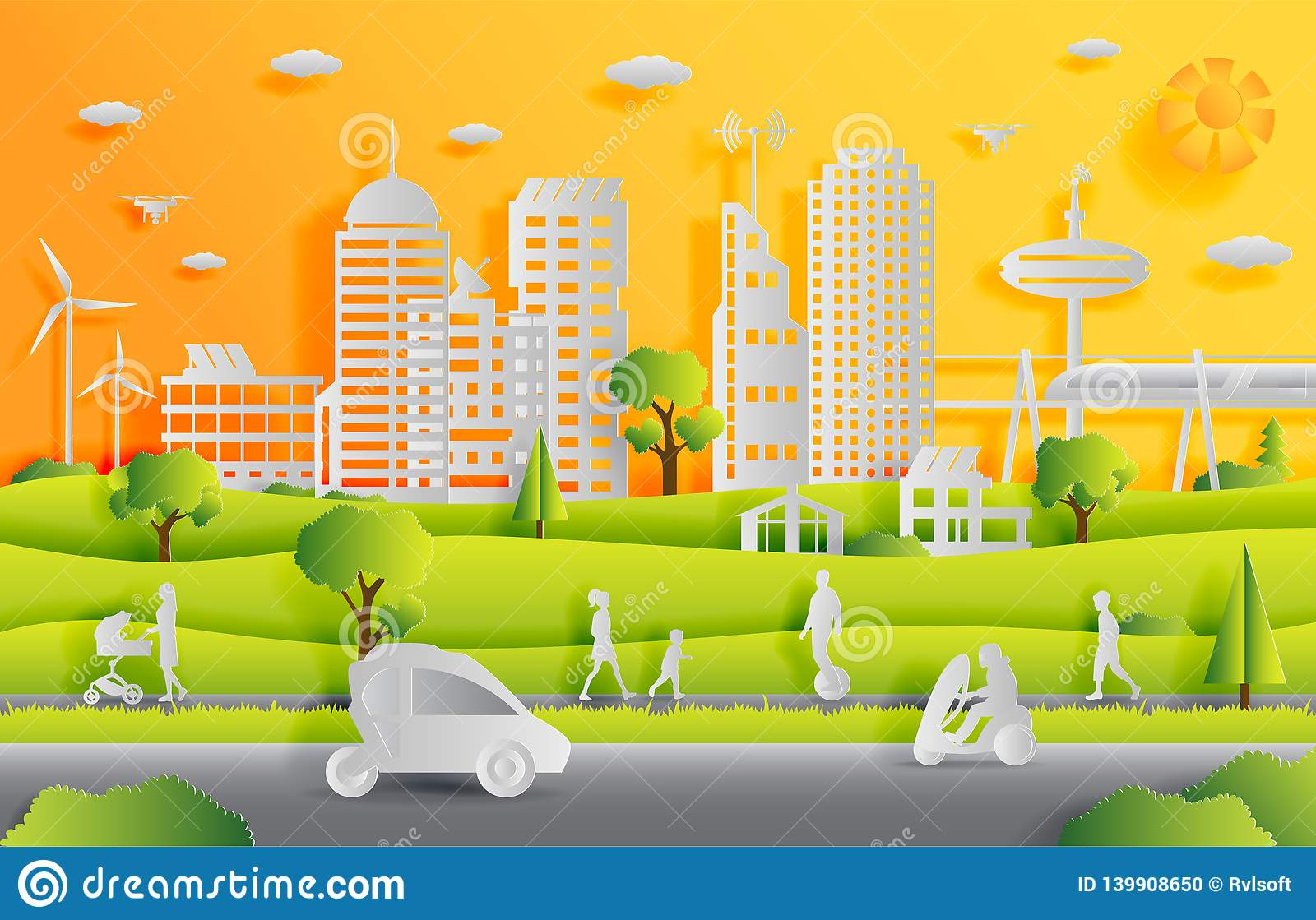 Concept of smart city with technologies of future and urban innovations