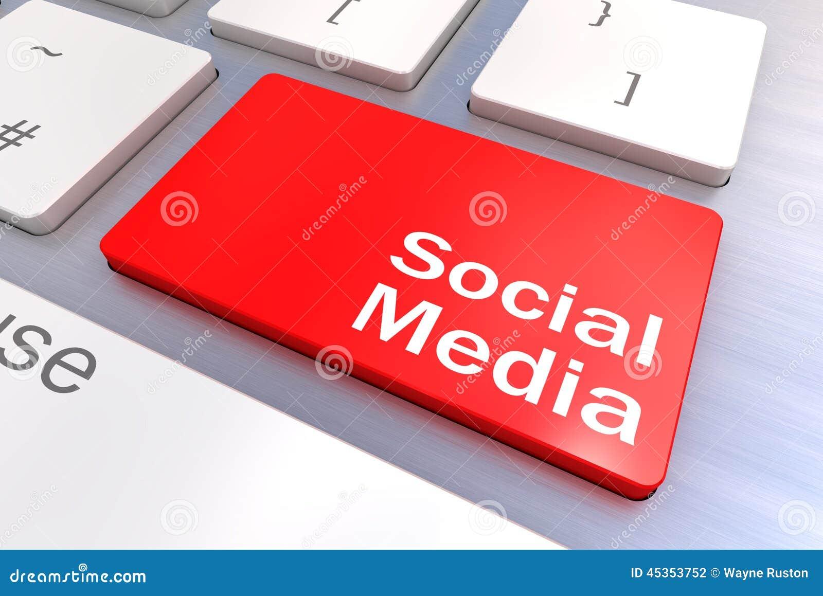 Concept social de clavier de media
