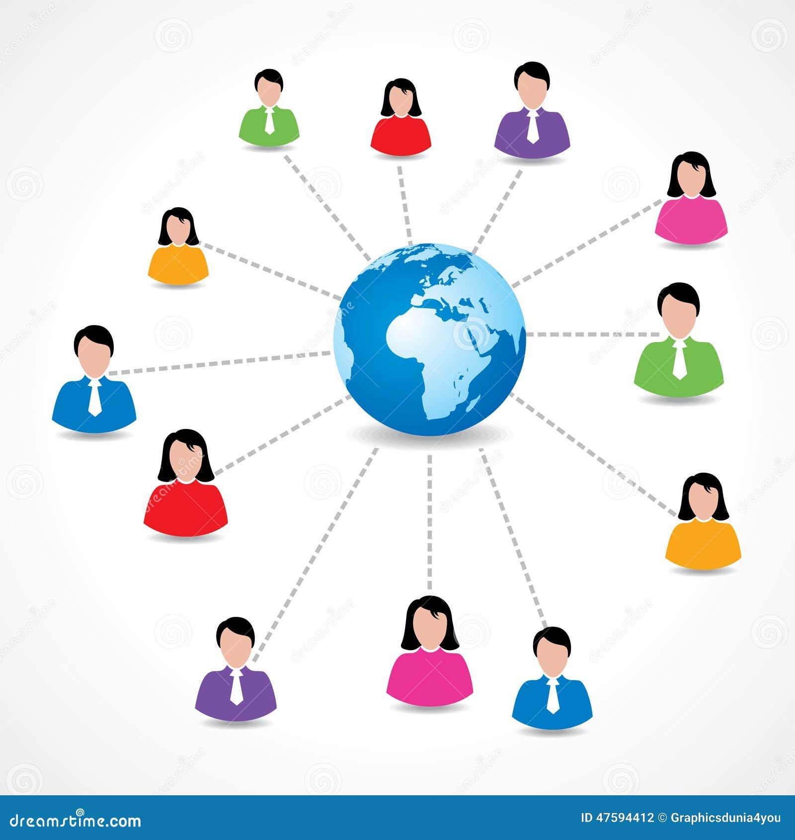 Concept social de réseau avec les icônes masculines et femelles autour de la terre