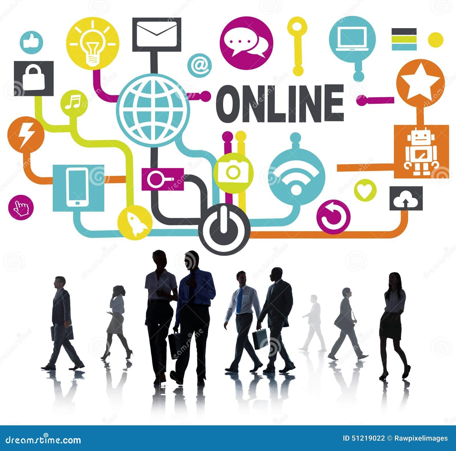 Concept social de technologie de mise en réseau de communication en ligne globale