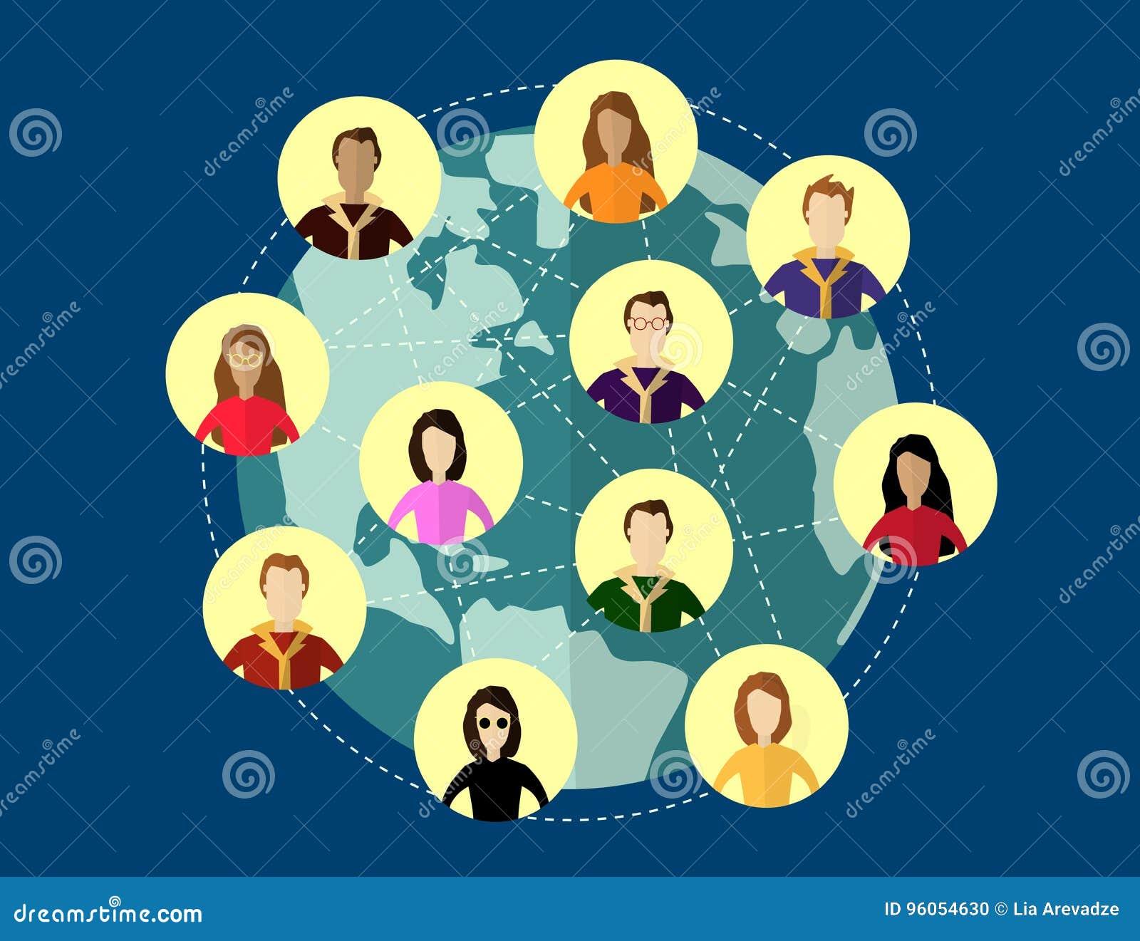 Concept social global de réseau Systèmes de communication et technologies