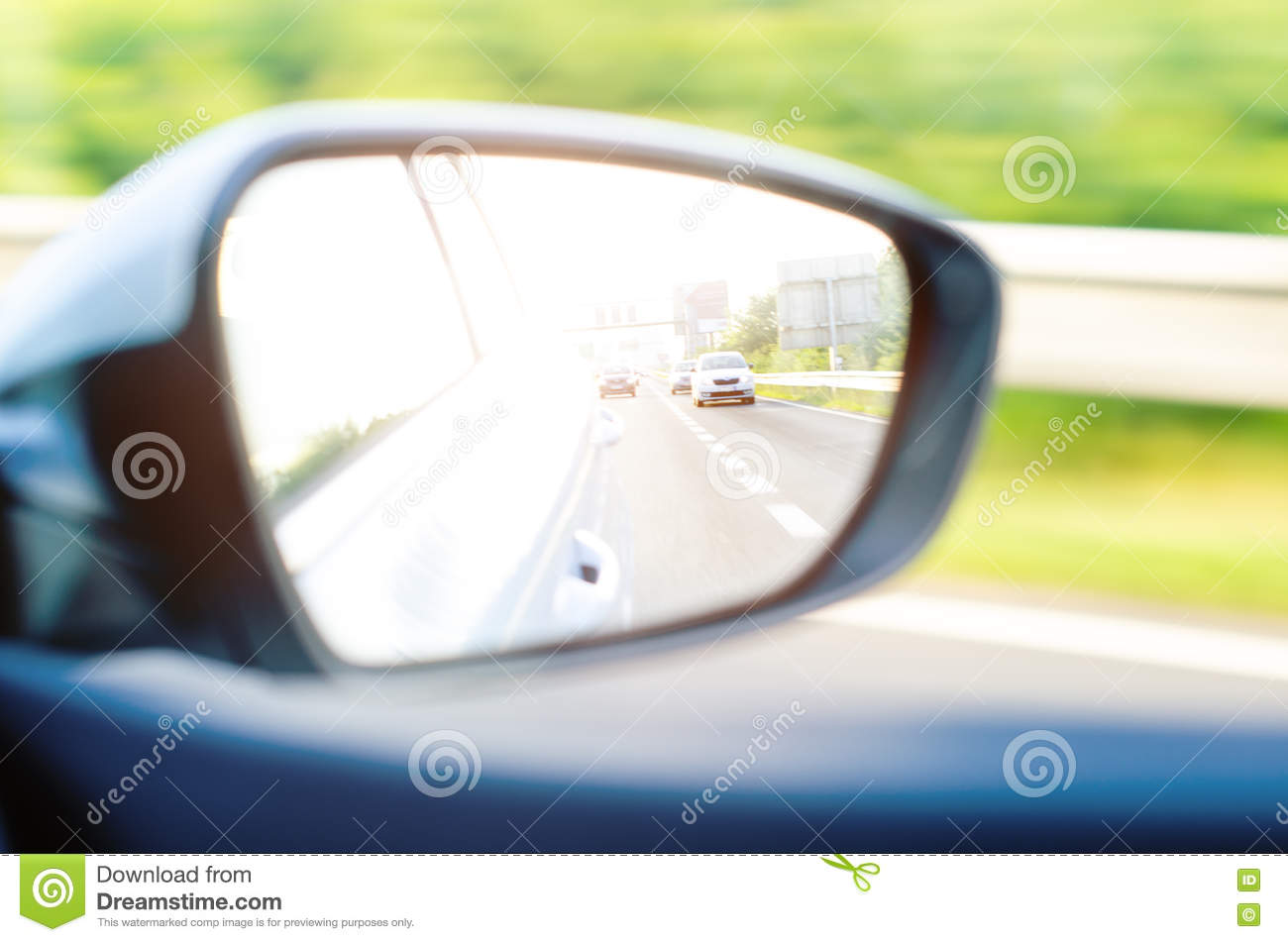 Driving A Car In The View The Rear Window Royalty-Free