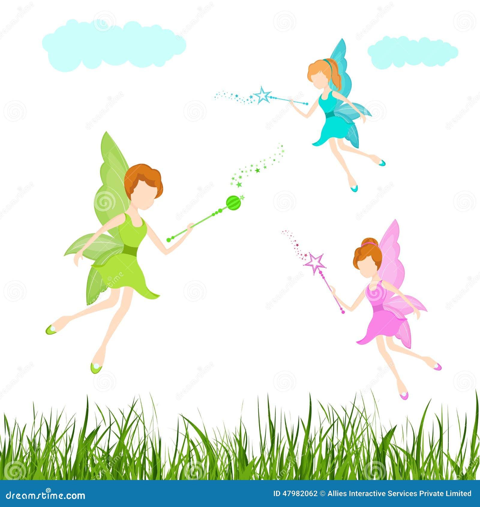 Concept sprookjes met het vliegen engelen