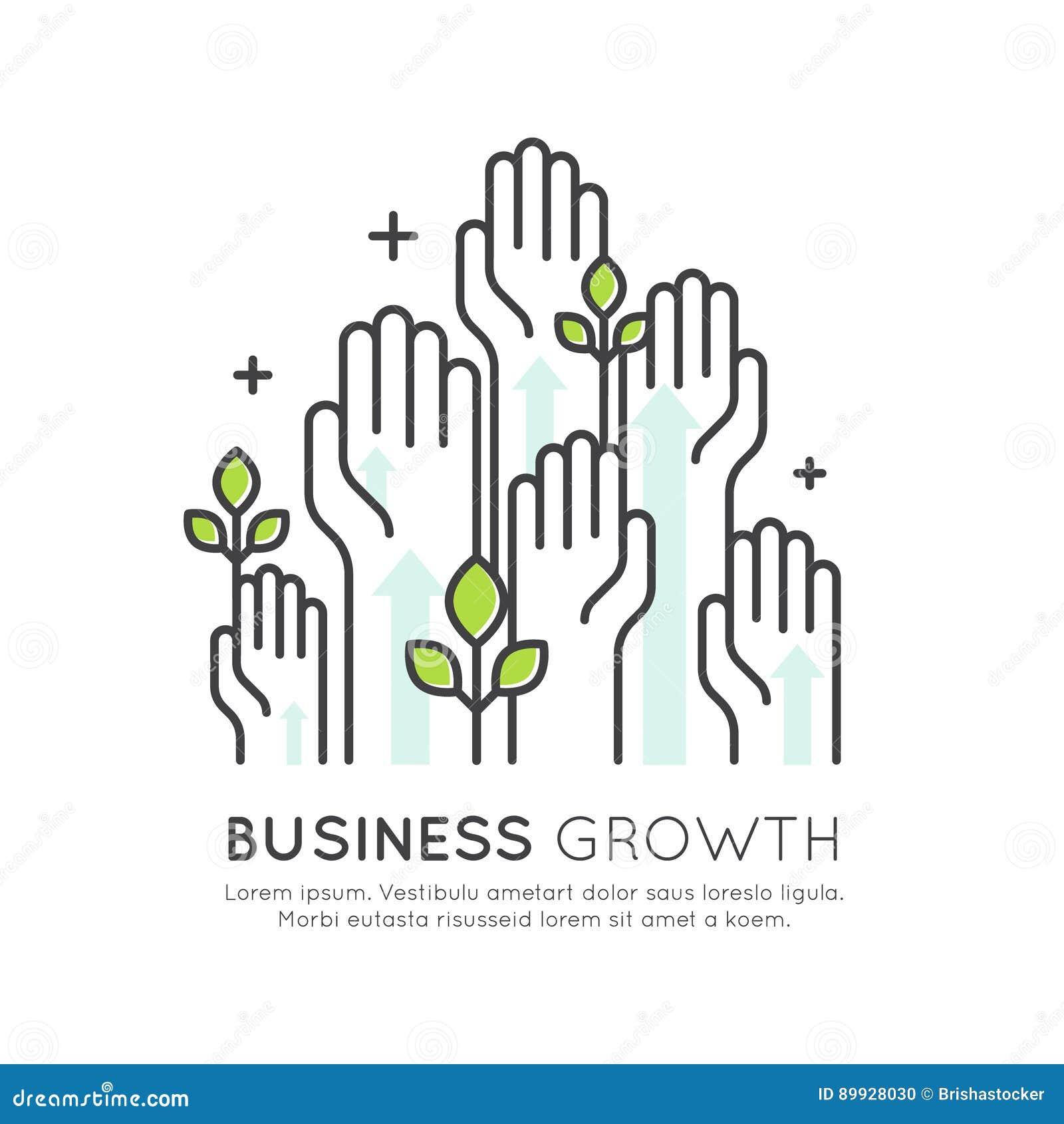Business Growth Development : Concept of start up business growth development and