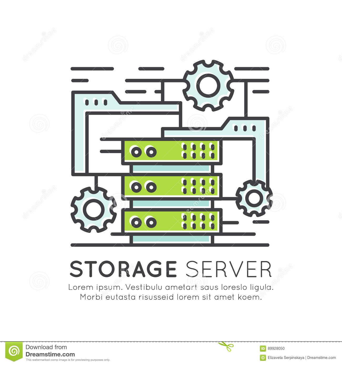 Concept Of Storage Server Network Software And Hardware Rack Stock Vector Illustration Of Computer Cloud 89928050