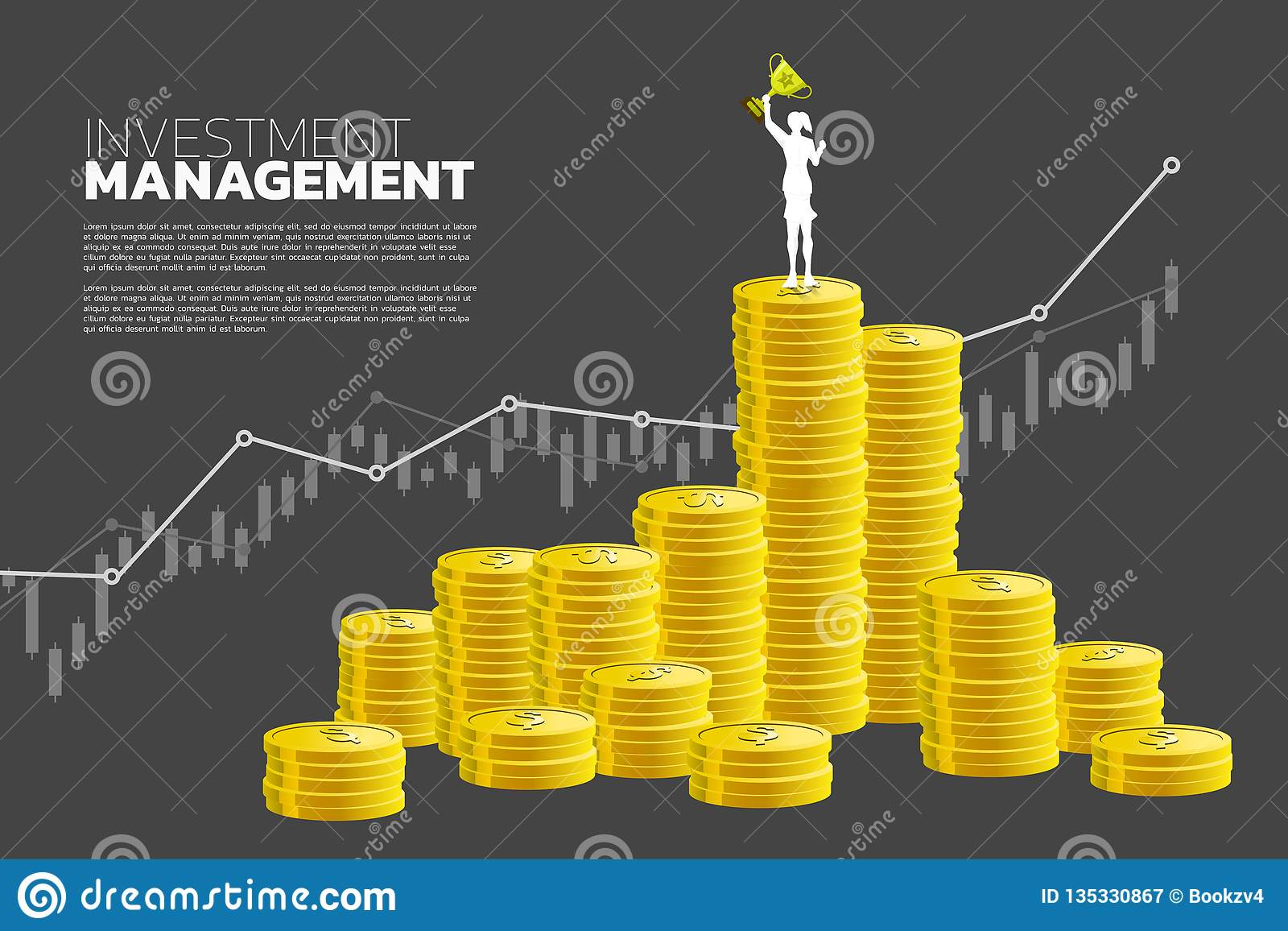 Silhouette of businesswoman with winner trophy standing on top of and growth graph with stack of coin.