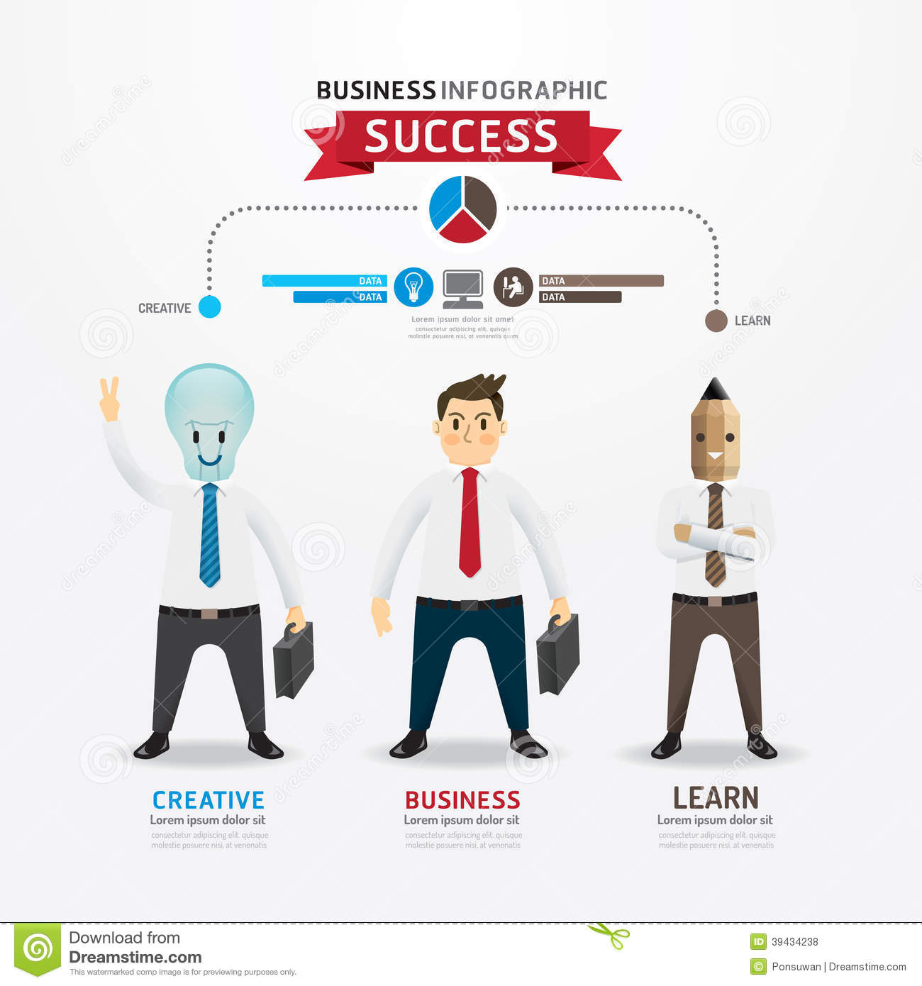 Character Design Career Information : Concept of successful businessman cartoon infographic