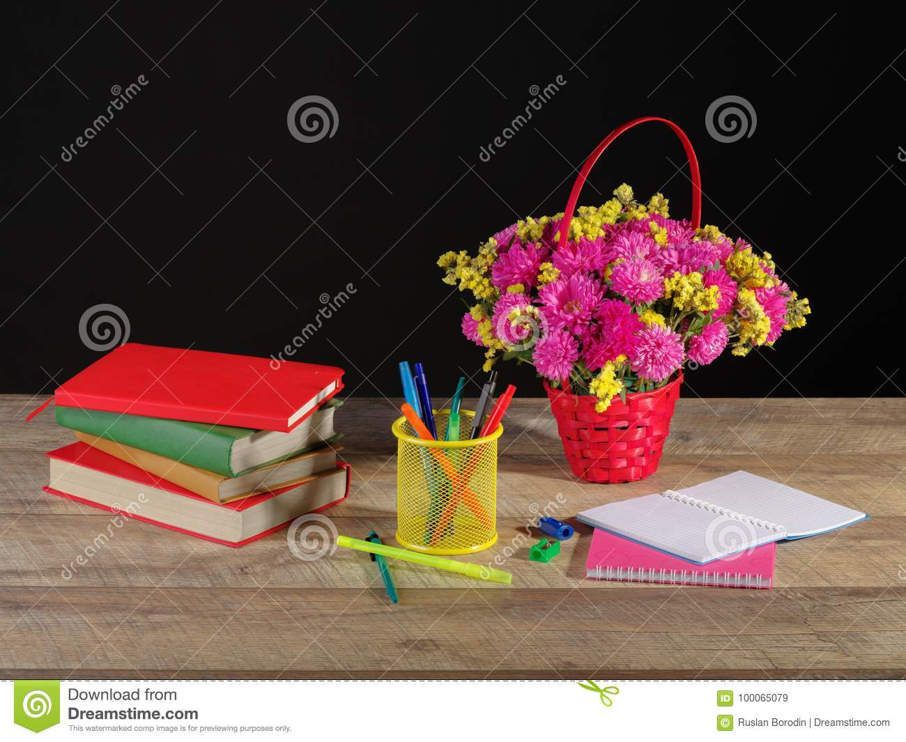 World Teachers Day Still Life With Book Pile Flowers Paper And