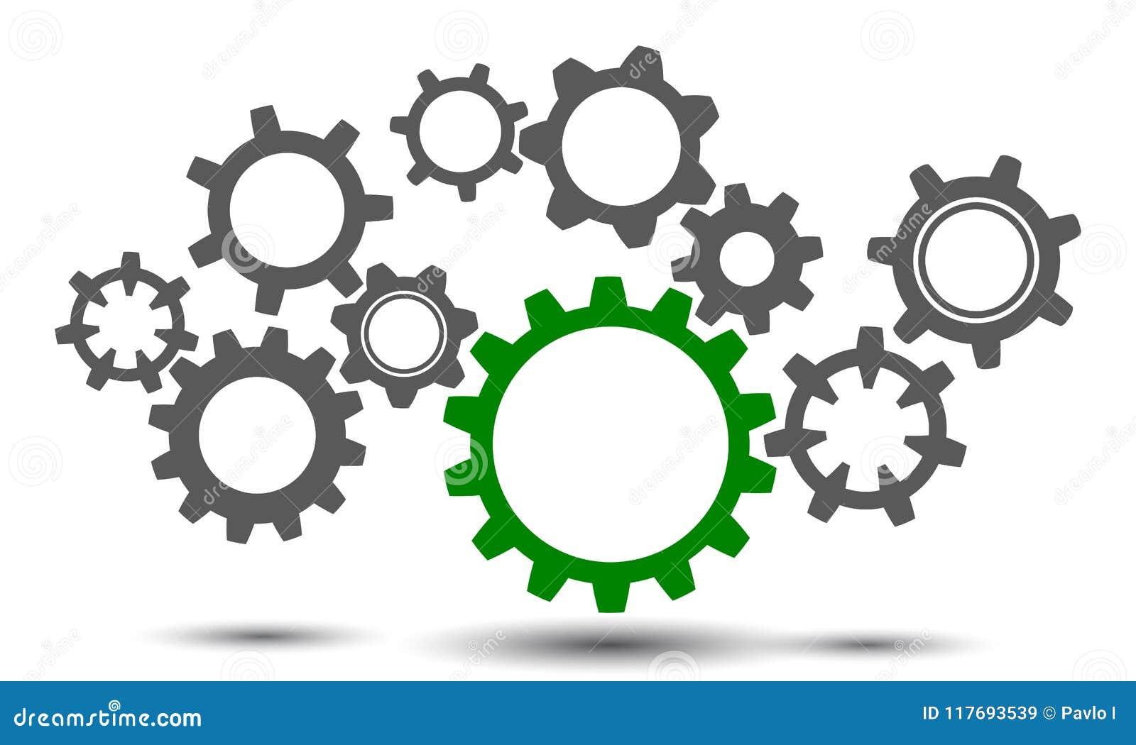 concept teamwork, generator business idea, group gears - vector
