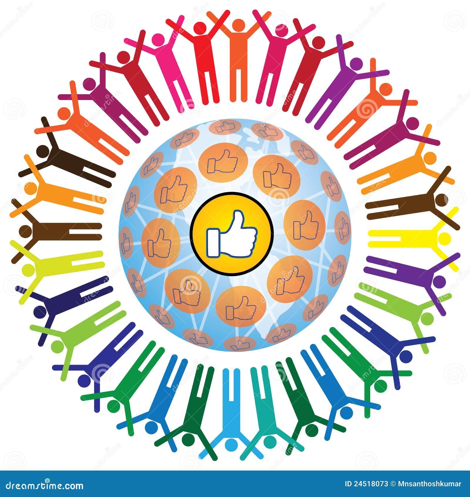 Concept teamworking social global avec le symbole pareil