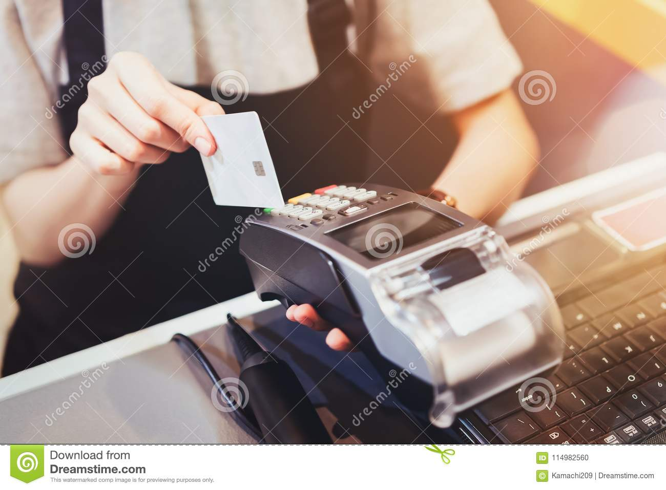 Concept Of Technology In Buying Without Using Cash. Close ...