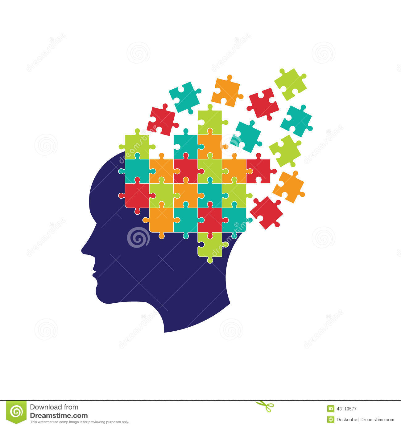 Concept of thought to solve brain with pieces of puzzle.