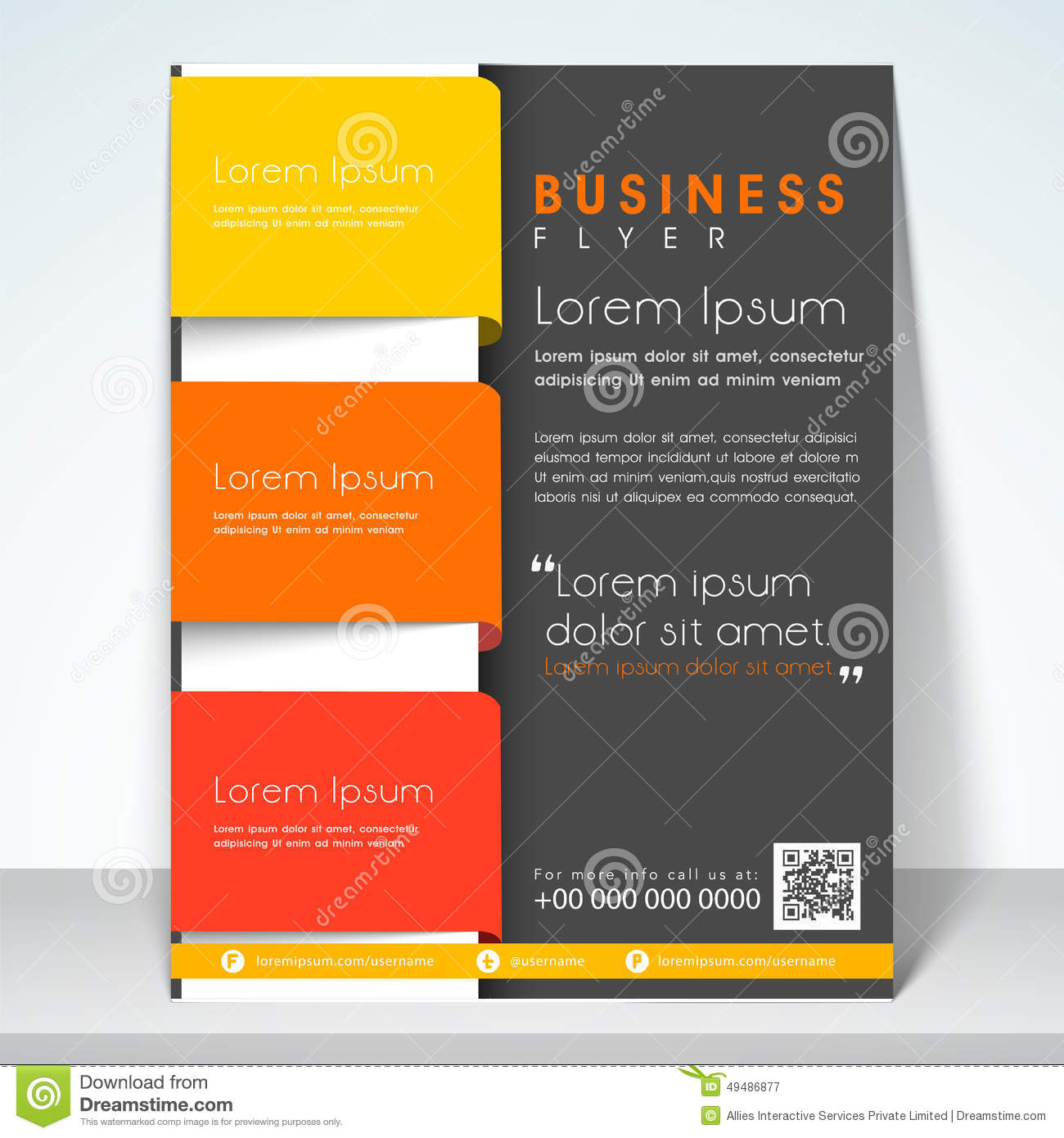 concept of three fold flyer brochure or template office marketing