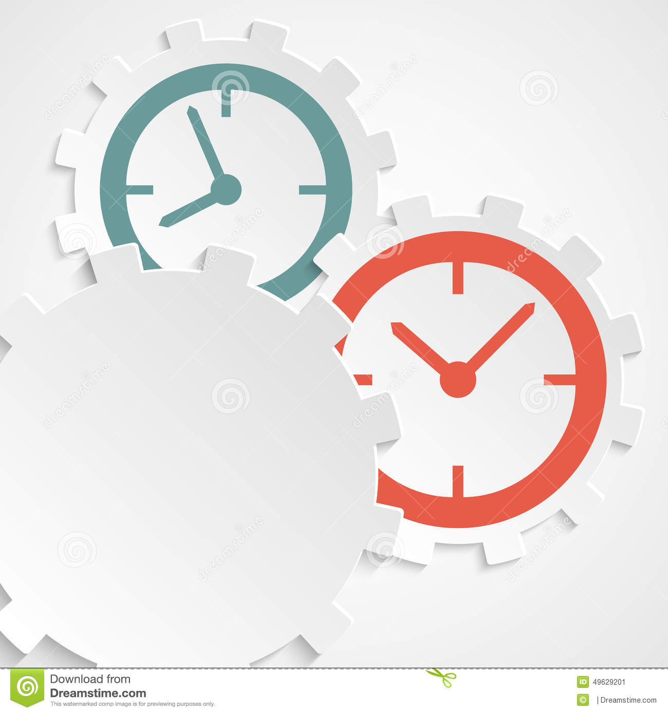 Concept of time clock on the gear icon cutaway paper stock for Time for business
