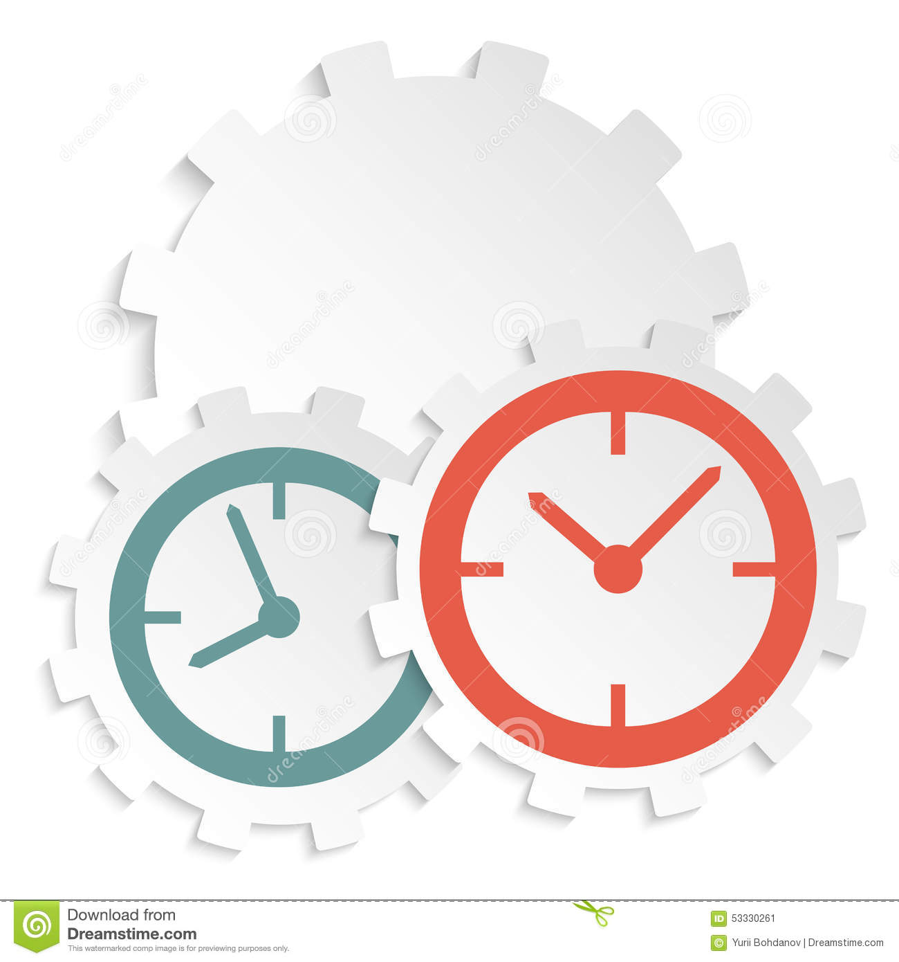 concept of time clock icon on paper cutaway gear stock vector