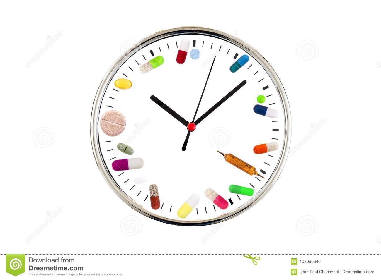 Concept Of Taking On Time Medication   Analog Clock With A Dial Made