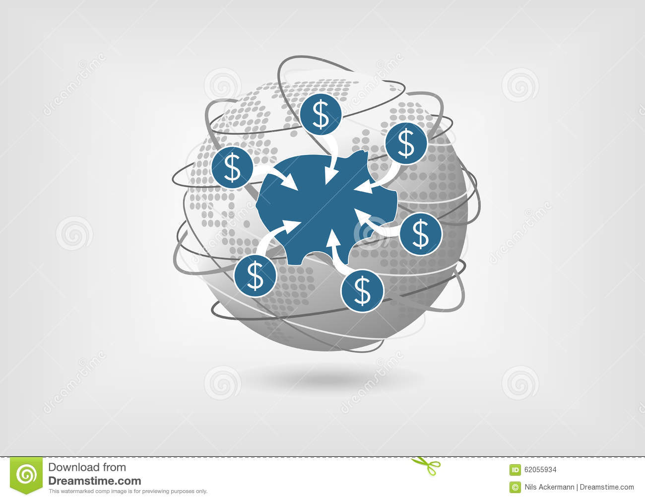 Concept to withdraw money from savings account in global economy.