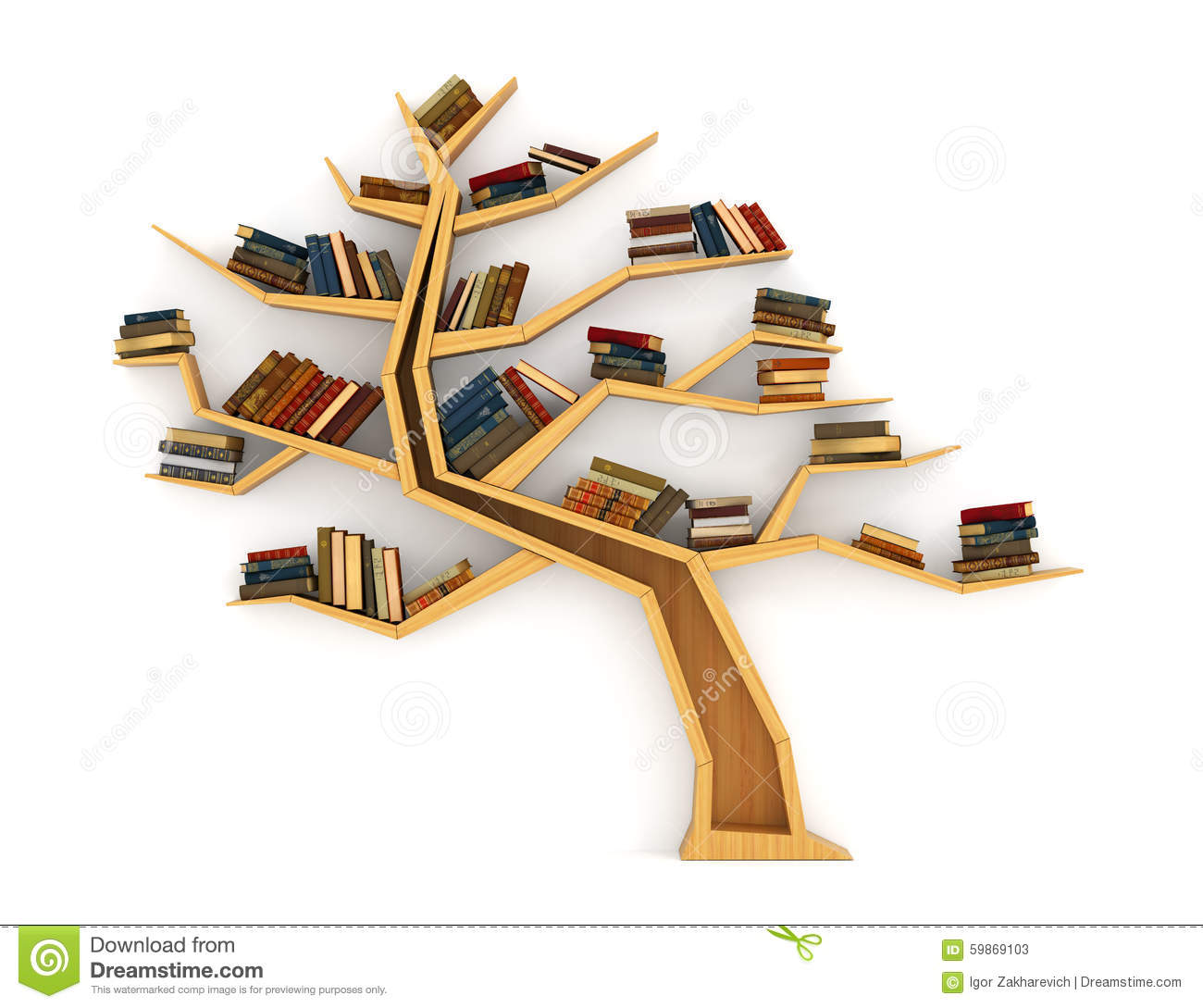 Concept of training. Wooden bookshelf in form of tree. Science about ...