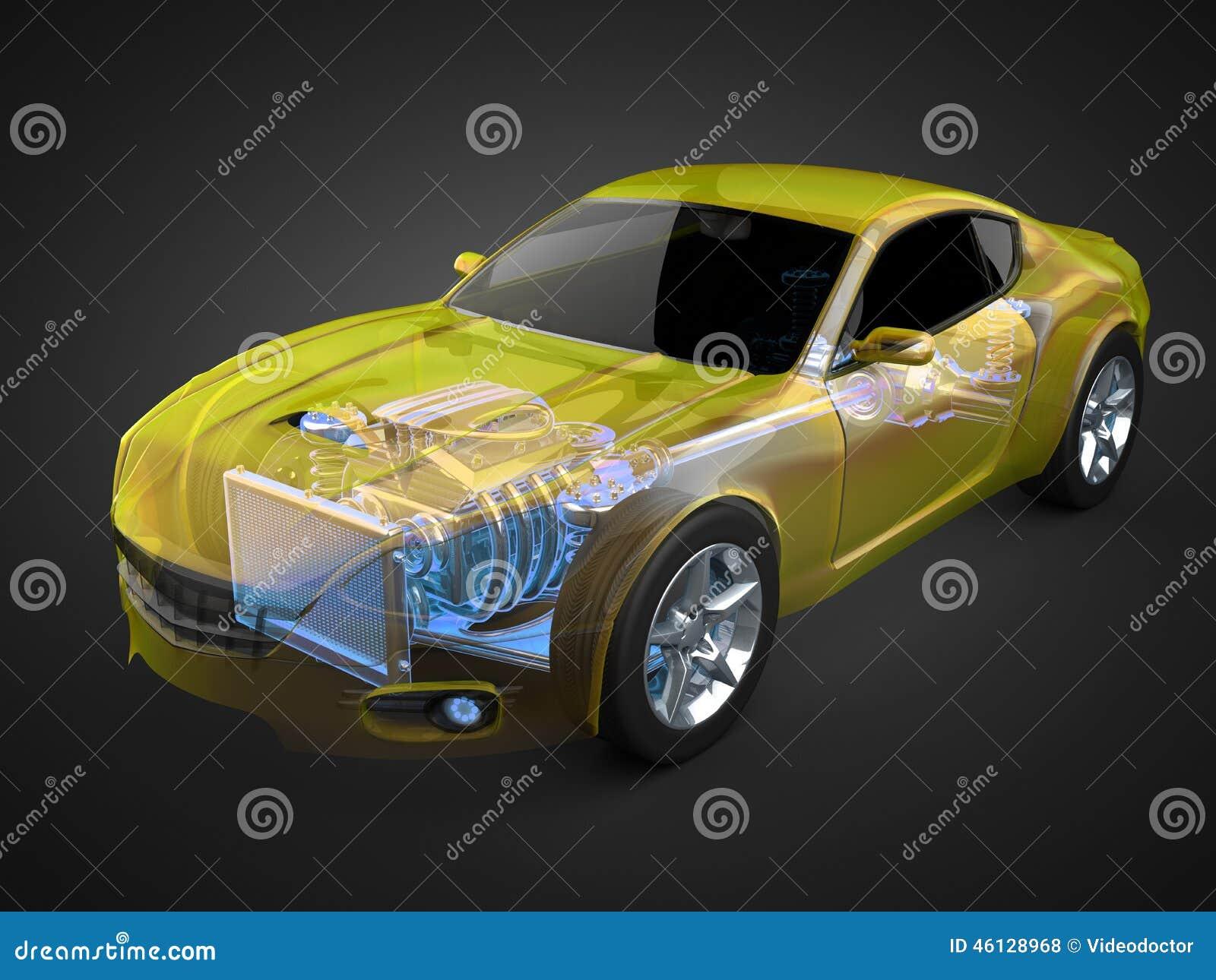 Concept transparent de voiture avec le moteur et la transmission évidents