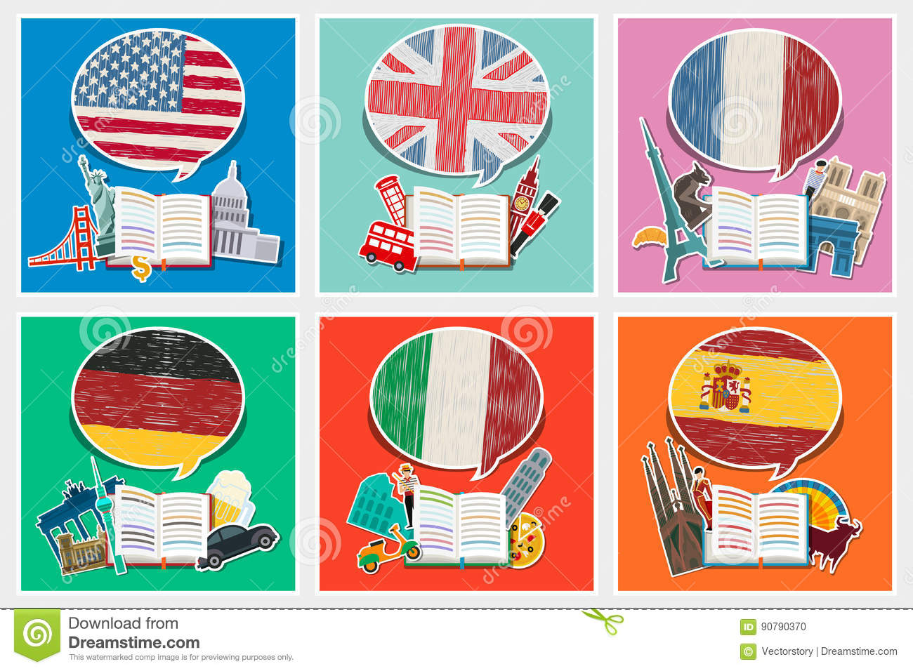 English In Italian: Concept Of Travel Or Studying Stock Vector