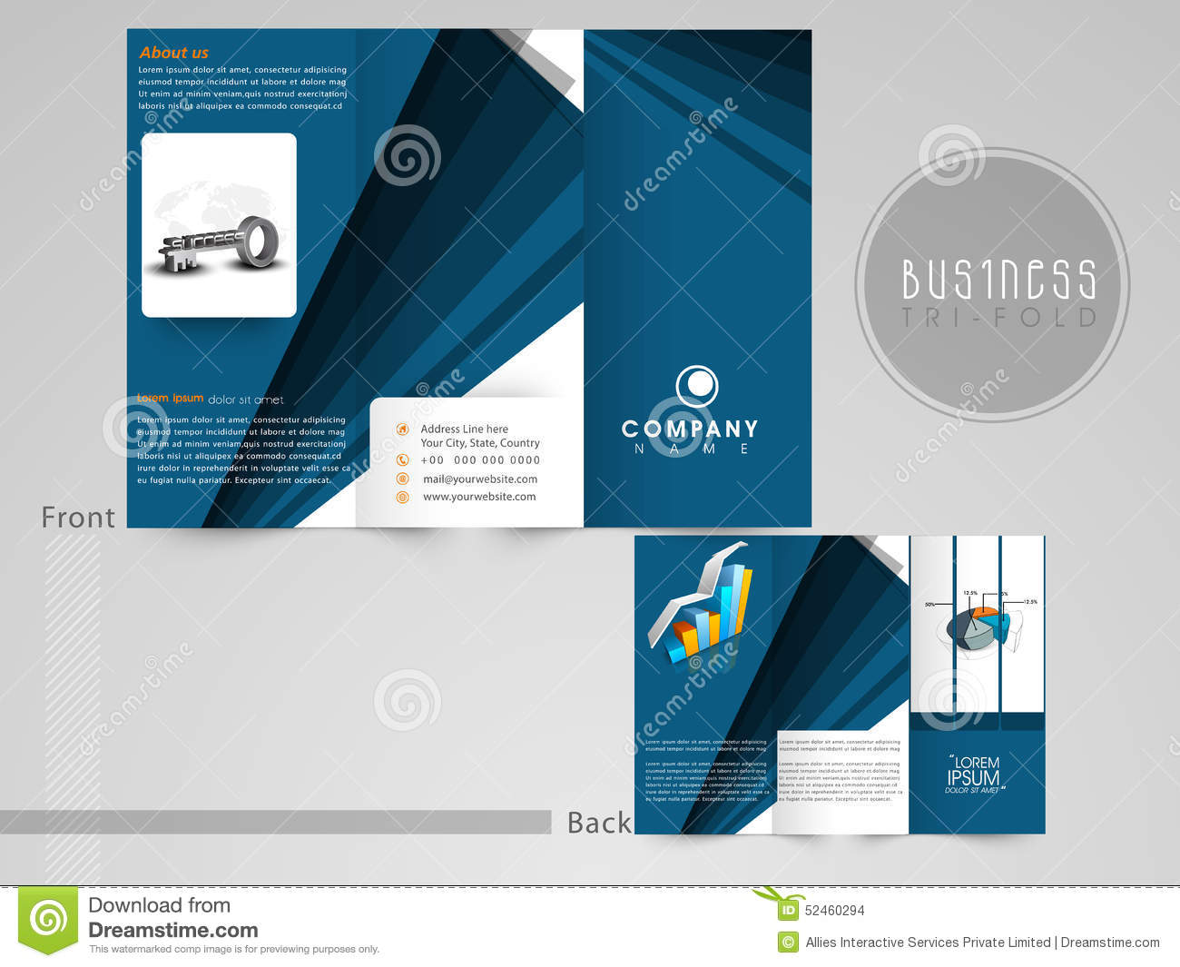 concept of tri fold flyer or template for business stock