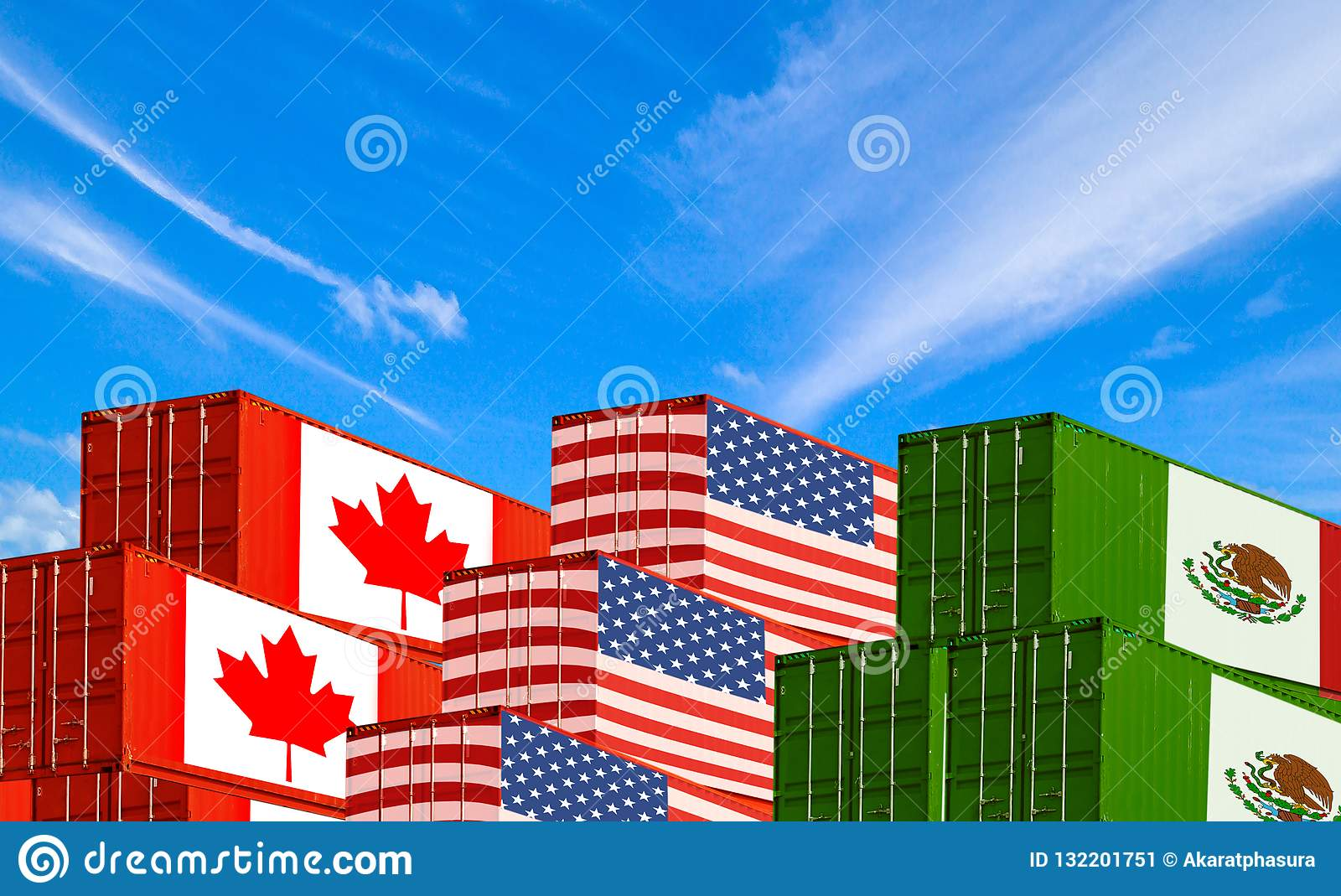 Concept of USMCA or the new NAFTA United States Mexico Canada agreement, trade deal and economic