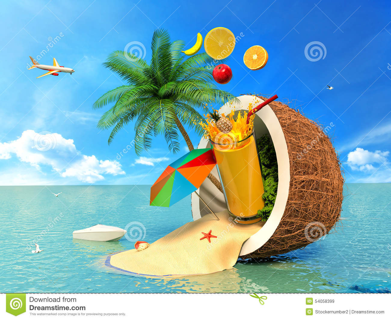 Summer travel card in retro style vintage vacation postcard with - The Concept Of Vacation Coconut Beach Umbrella And Fruit