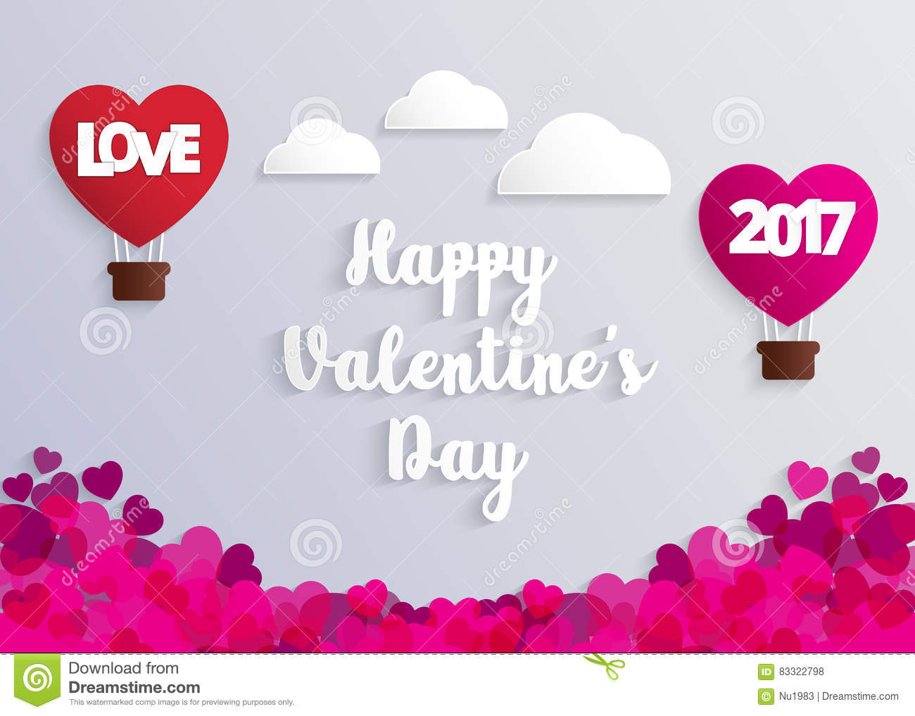Concept Of Valentine Day, Hot Air Balloon In A Heart Shape