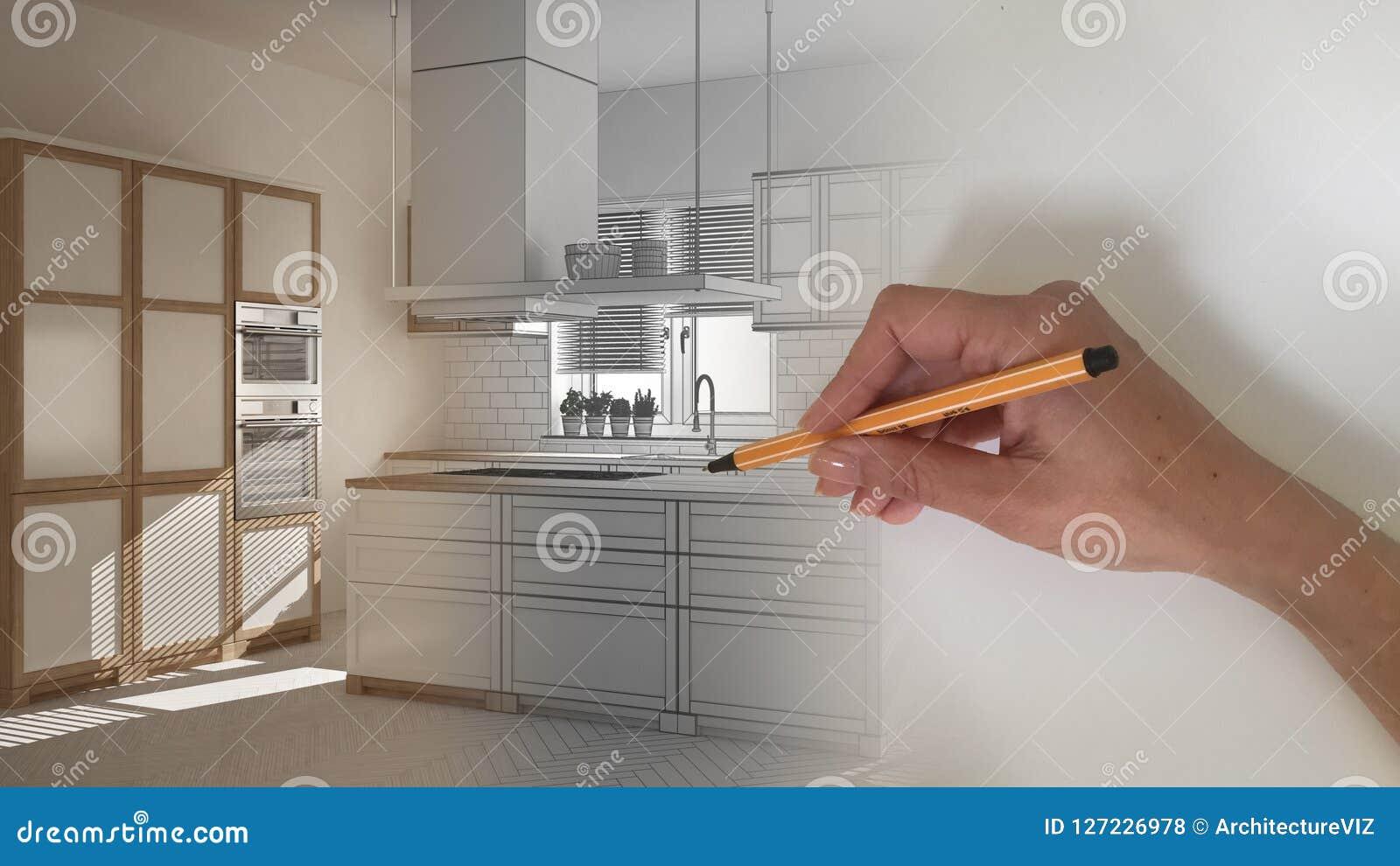 Concept van de architecten het binnenlandse ontwerper: hand die een ontwerp binnenlands project trekken terwijl de ruimte echte,
