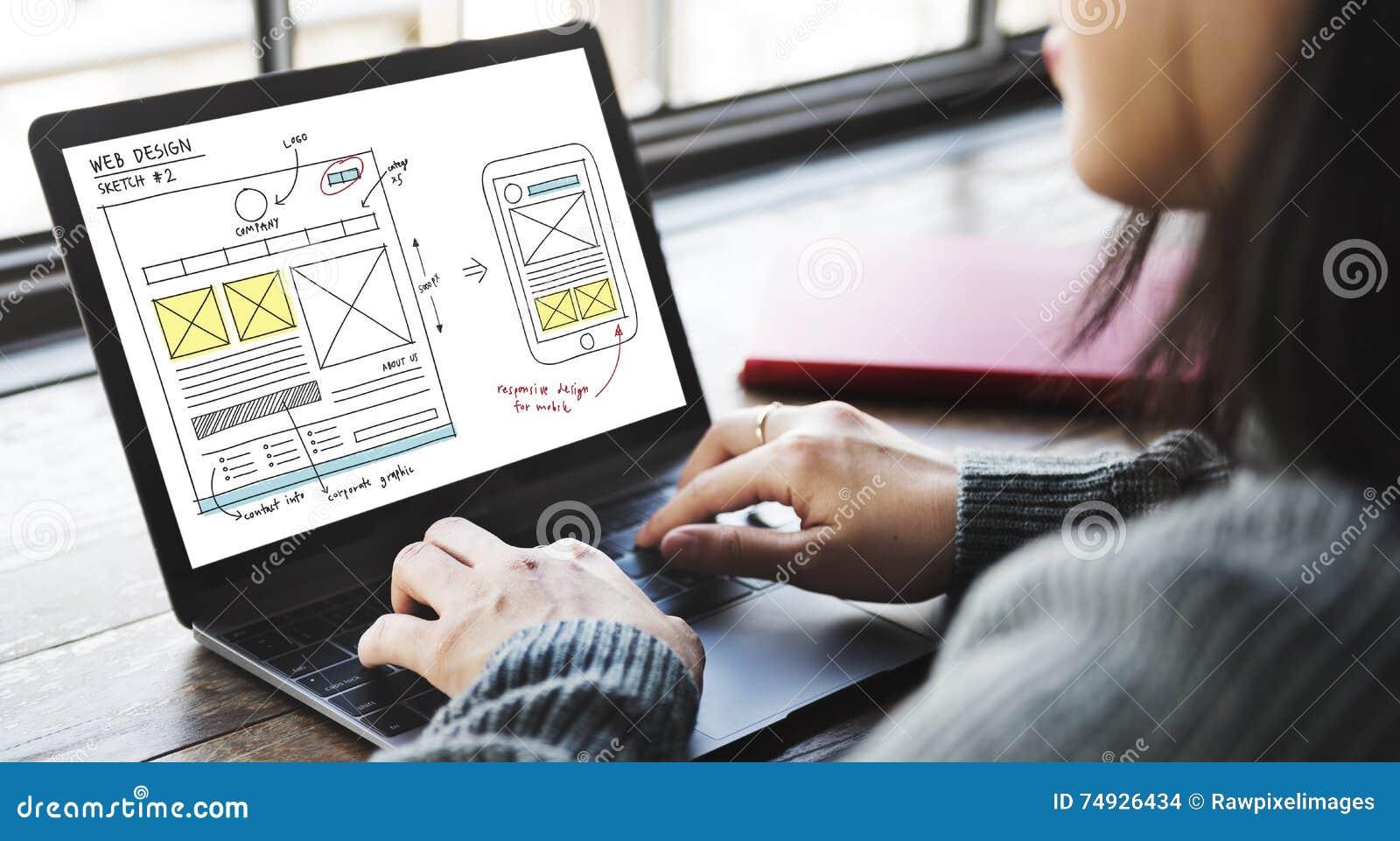 Concept van de de Technologieinhoud van het Webontwerp het Online