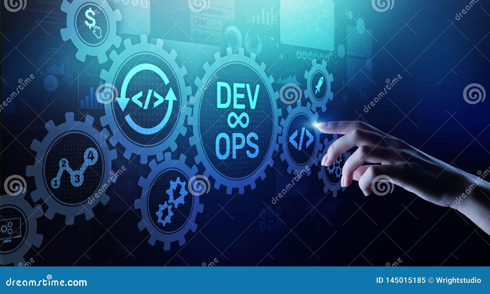 Concept van de DevOps het Behendige ontwikkeling op het virtuele scherm