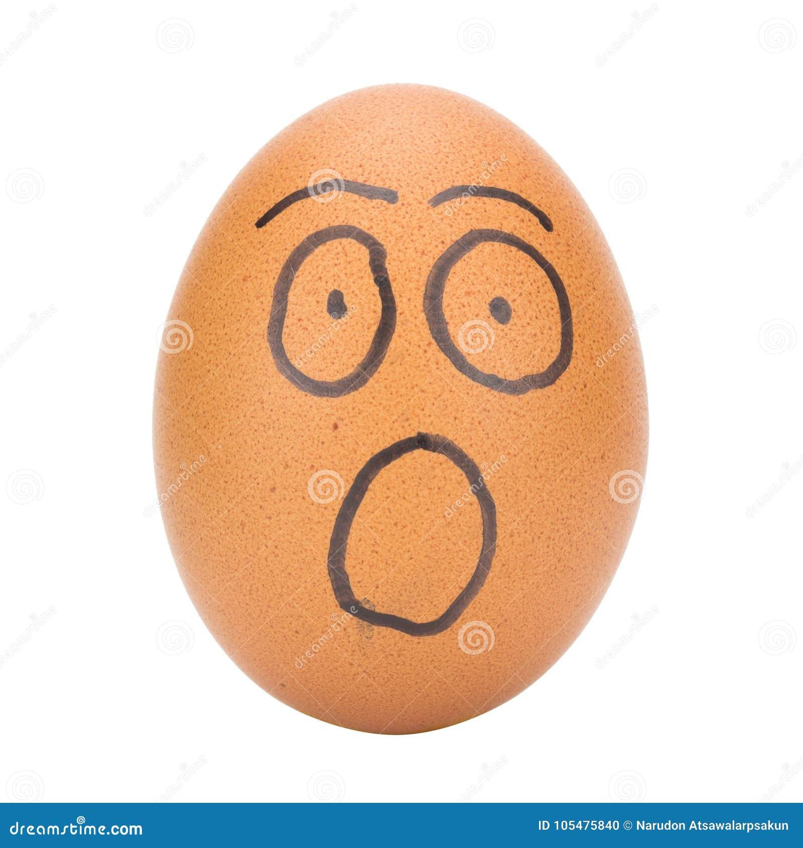 Concept van de ei het gezicht geschokte die mens op witte achtergrond wordt geïsoleerd