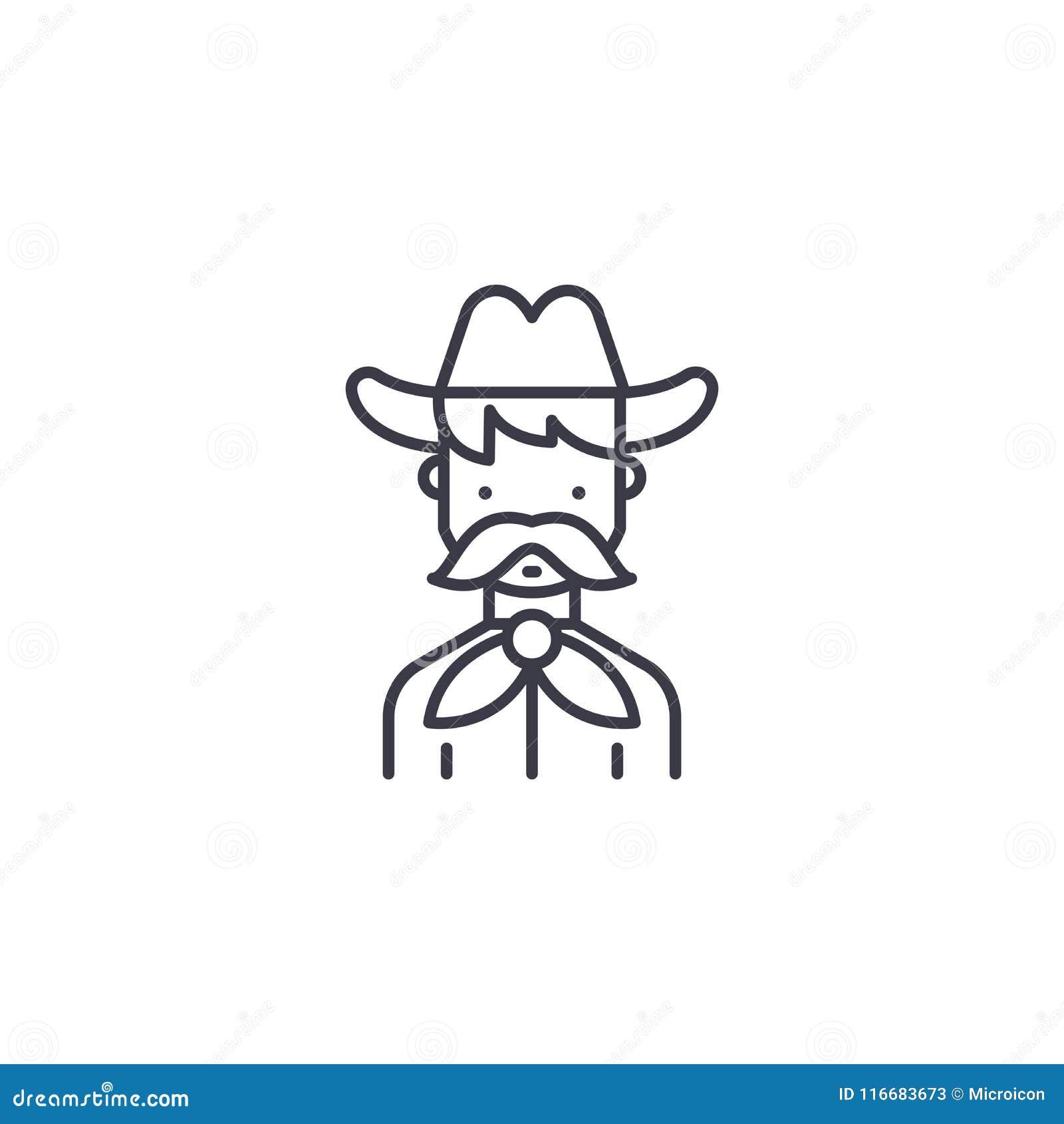 Concept van het cowboy het lineaire pictogram Het vectorteken van de cowboylijn, symbool, illustratie