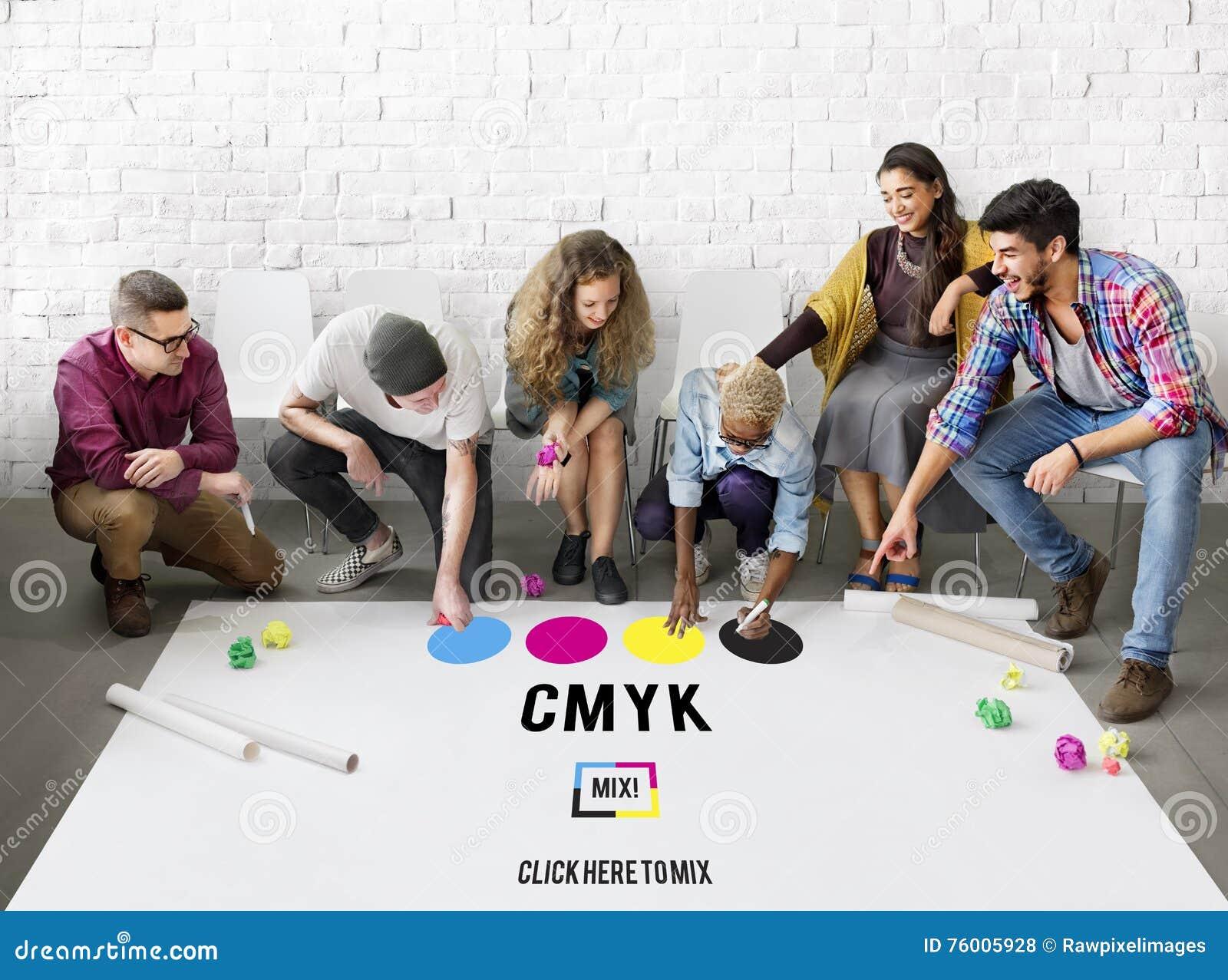 Concept van het de Kleurendrukproces van CMYK het Cyaan Magenta Gele Zeer belangrijke