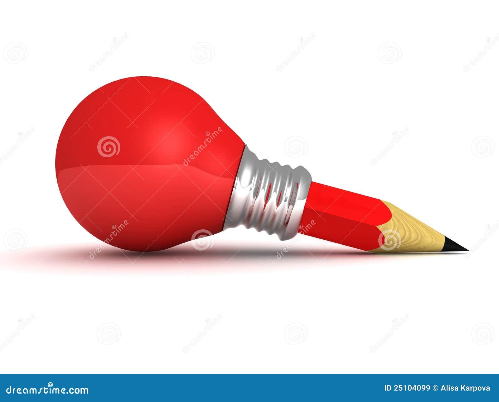 concept van het idee van het potlood van de bol van het rood licht het goede stock illustratie. Black Bedroom Furniture Sets. Home Design Ideas