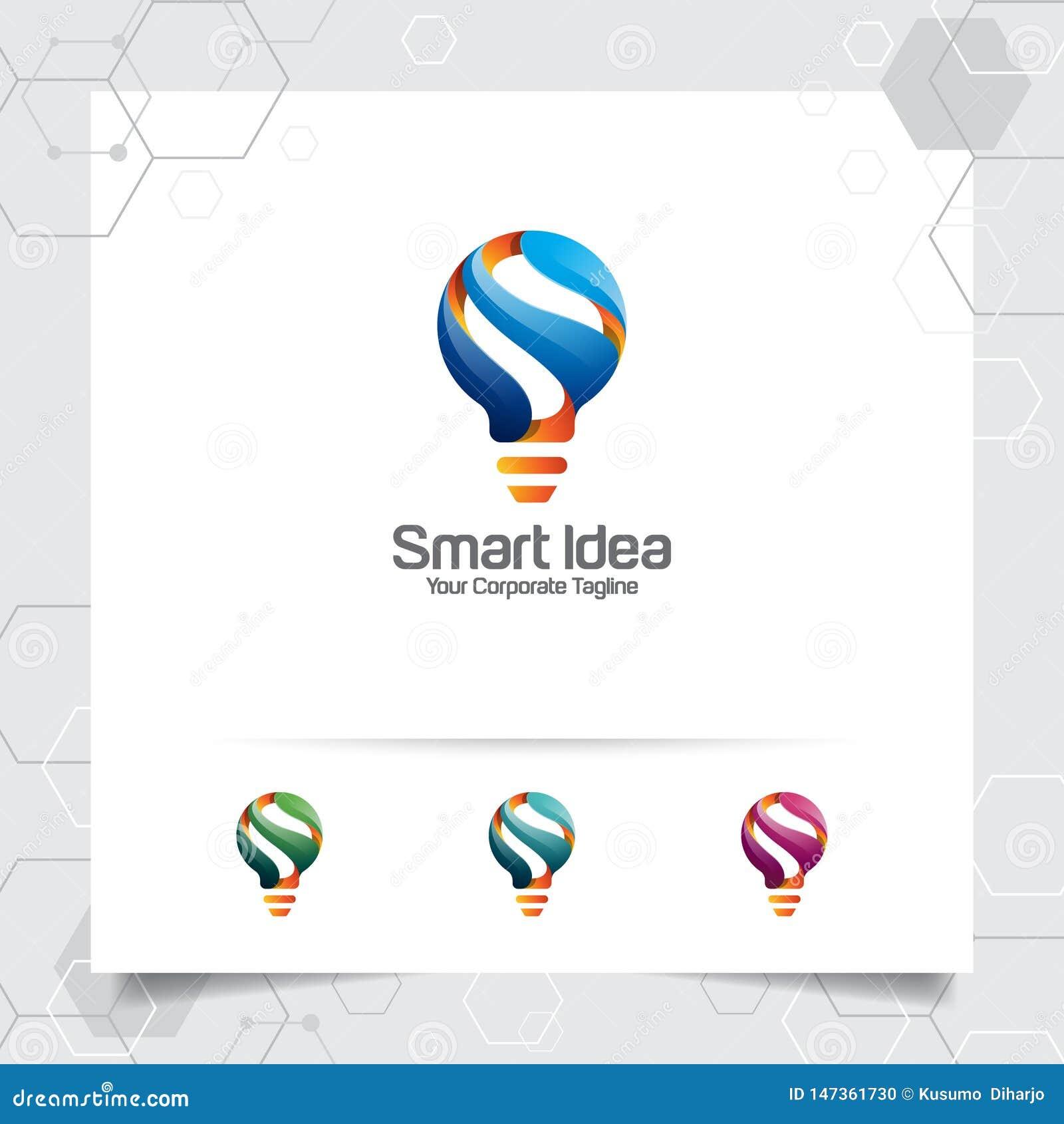 Concept van het het ideeontwerp van het bolembleem het slimme brievens symbool en kleurrijk lamp vectorpictogram Slim ideeembleem
