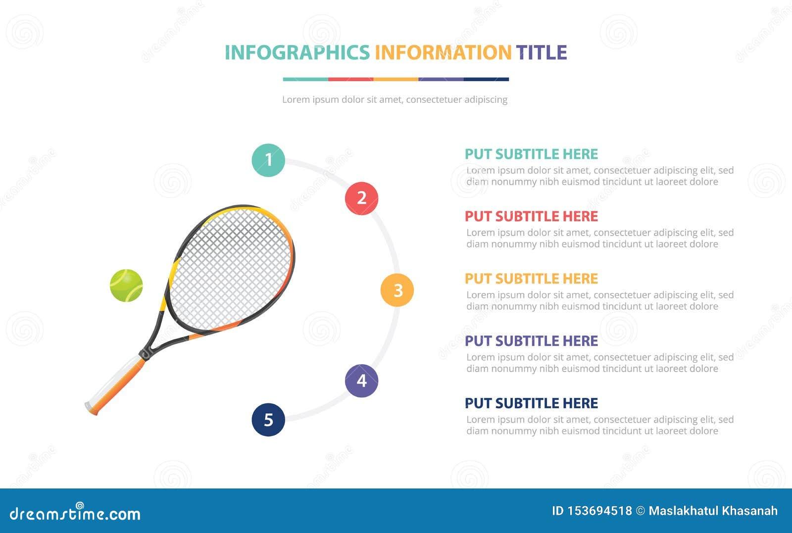 Concept van het tennis maakt van het infographic malplaatje met vijf punten en diverse kleur met schone moderne witte achtergrond
