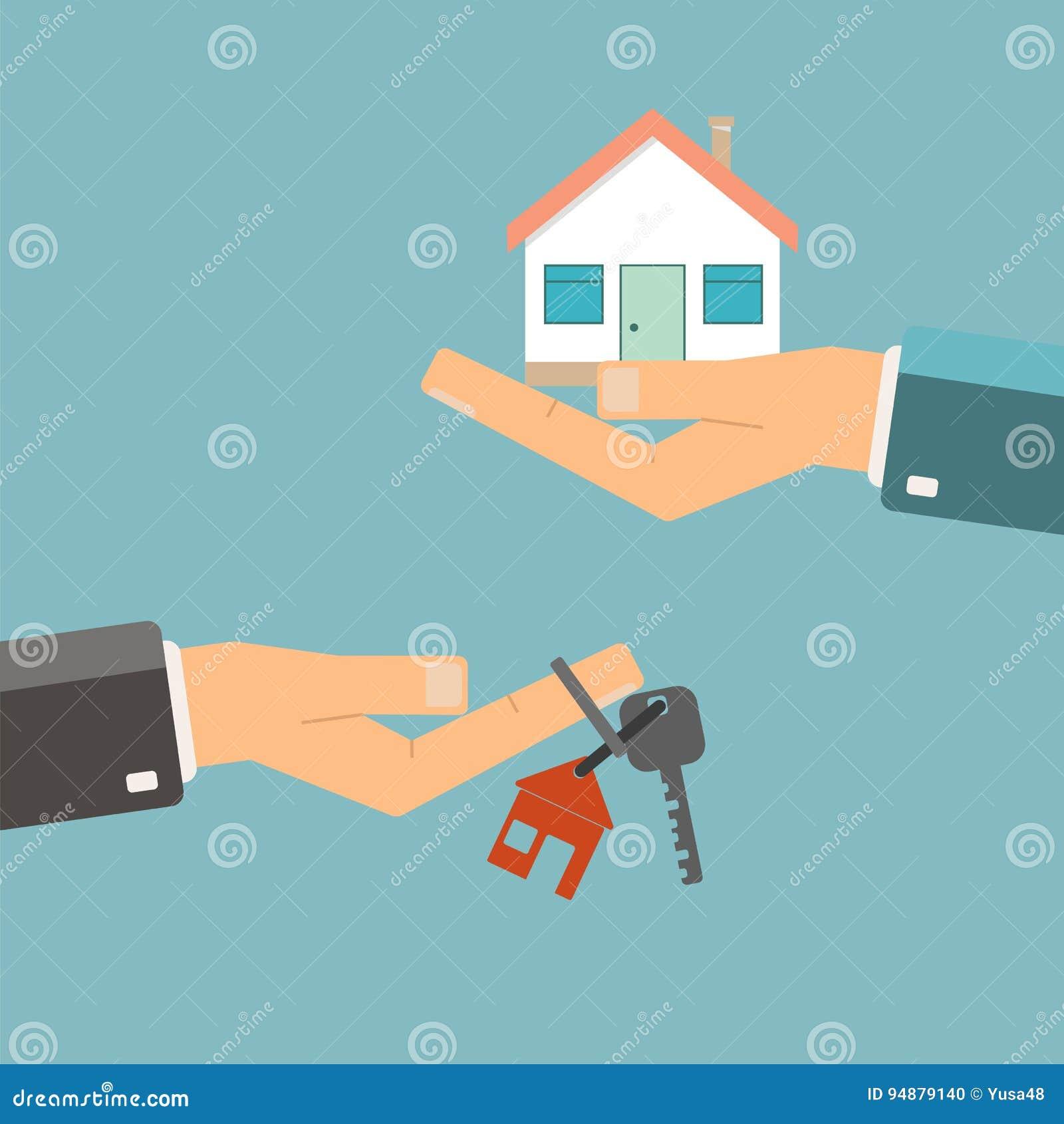 Concept 6 van onroerende goederen Het kopen of huurhuis De handen houden sleutels voor ho