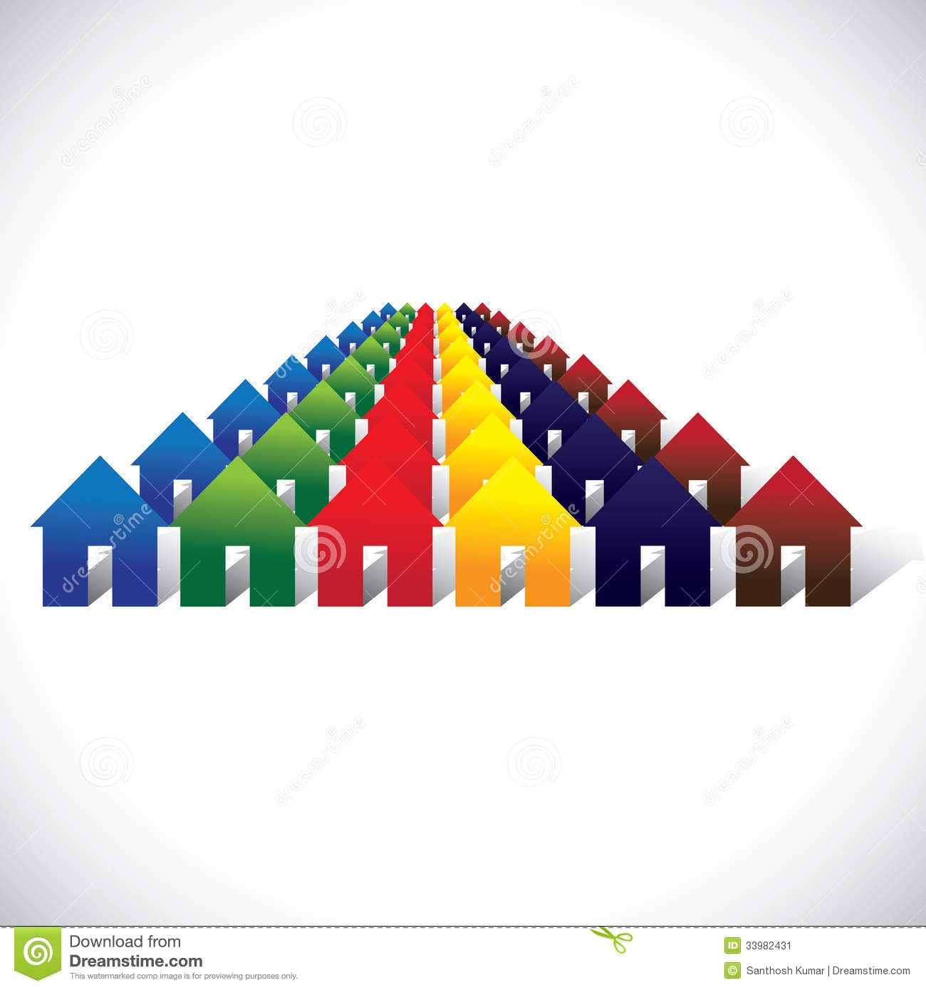 Concept Vector Community Living Colorful Houses Or Homes