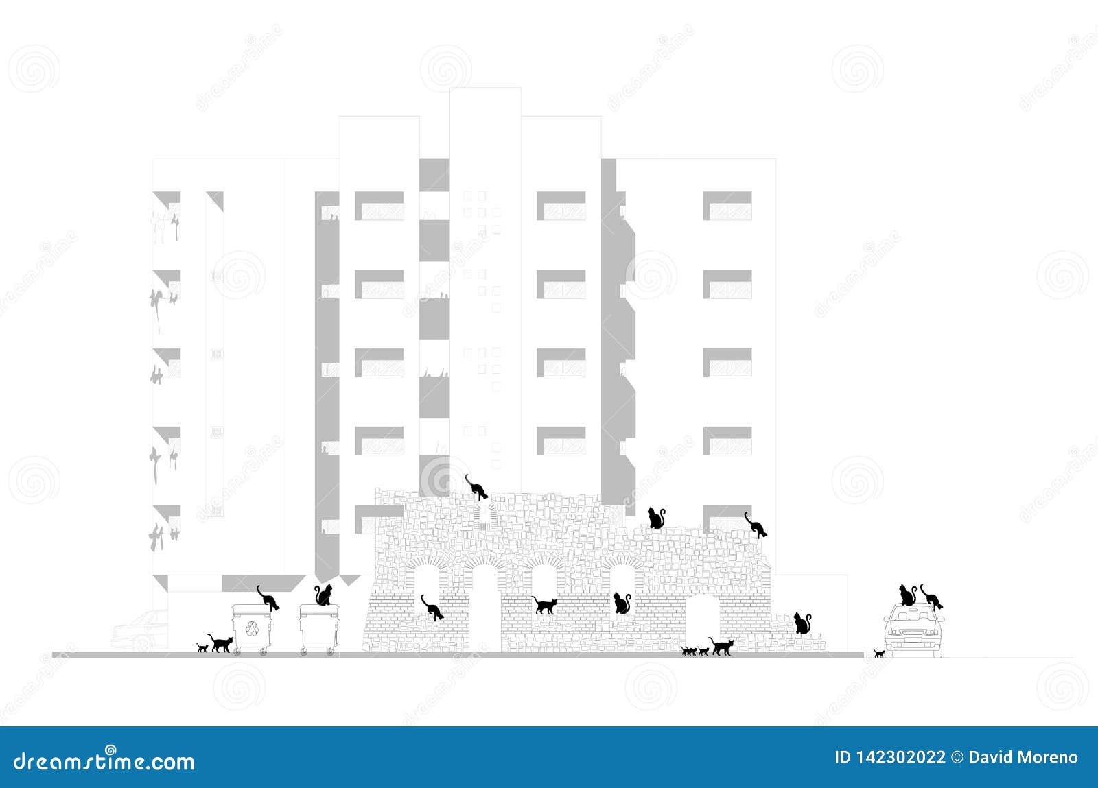 Concept verandering Verlaten ruïnes van een oud gebouw tegen nieuwe flats
