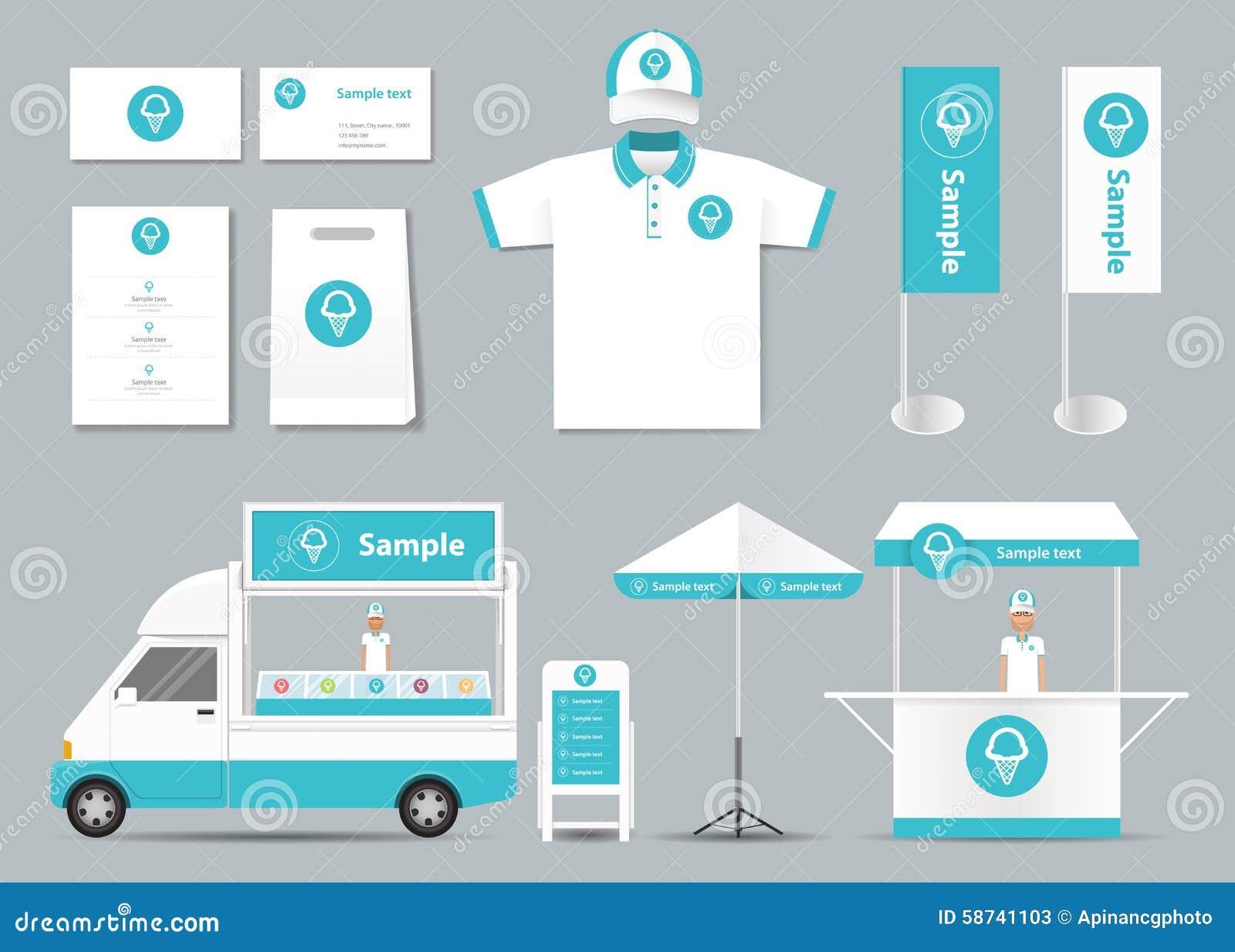 Concept voor de identiteitsspot van de roomijswinkel op malplaatje kaart menu Polo Shirt Vector