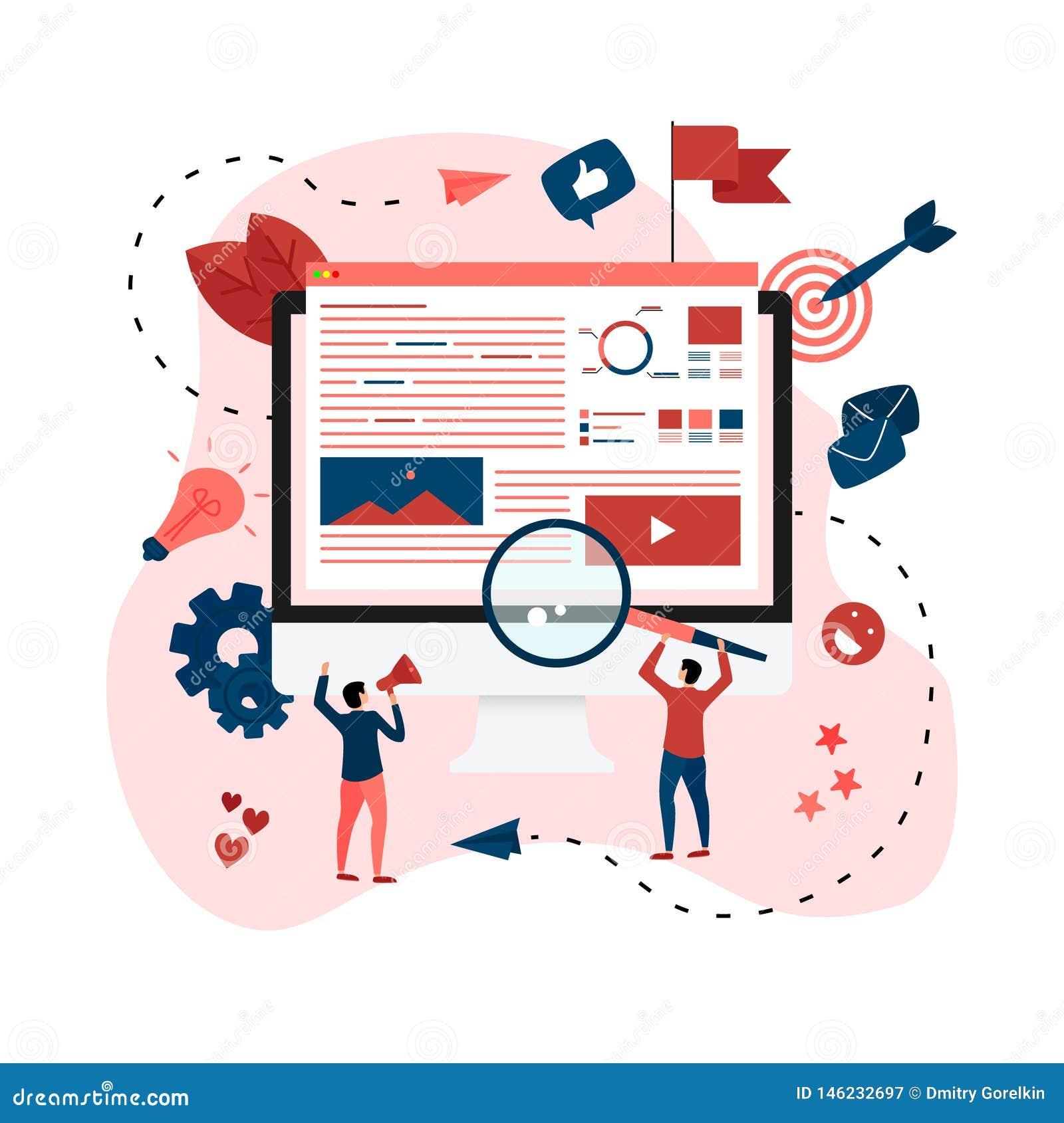 Concept voor Digitaal op de markt brengend agentschap, digitale media campagne vlakke vectorillustratie