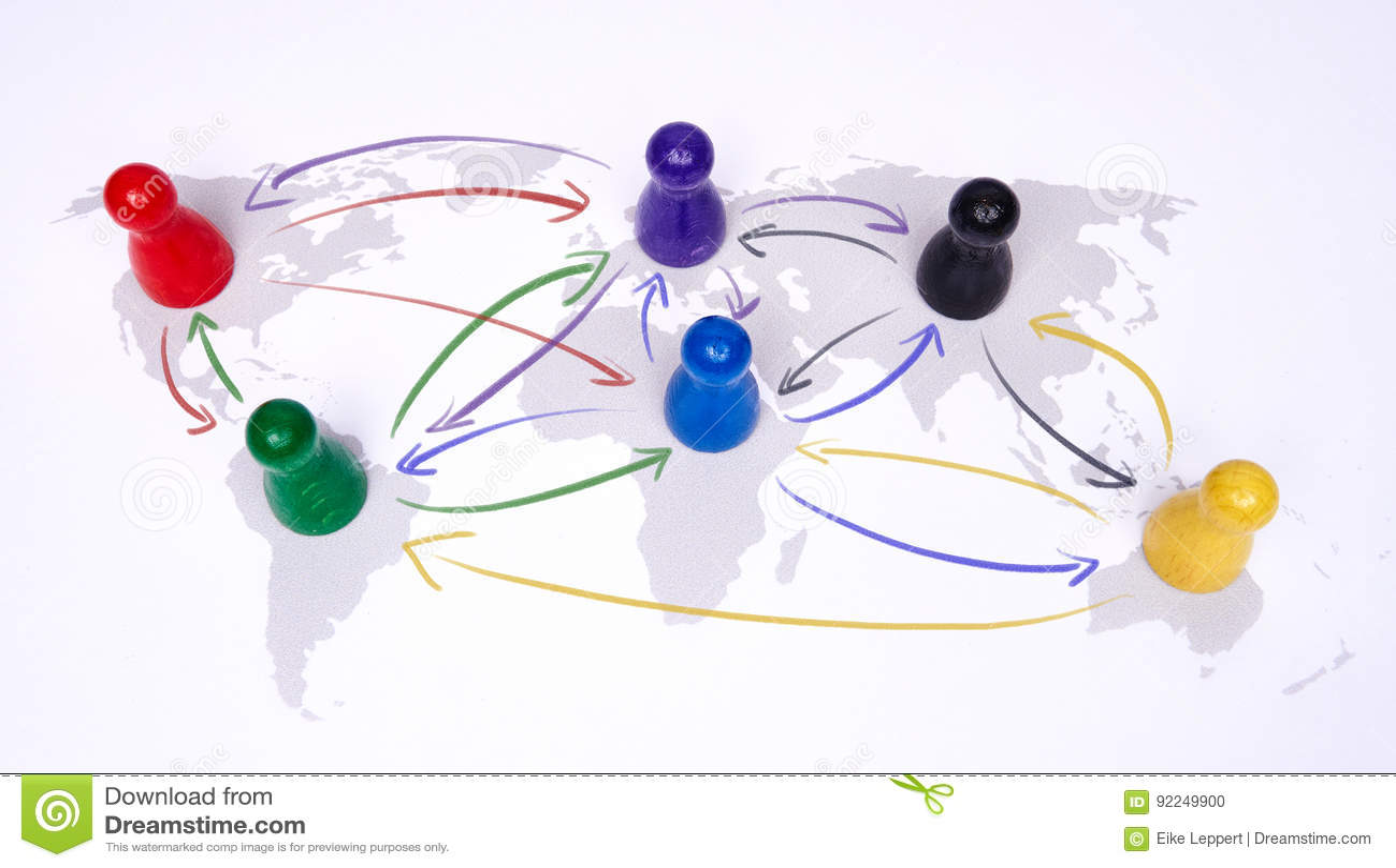 Concept voor globalisering, globale zaken, reis of globale verbinding Kleurrijke cijfers met het verbinden van pijlen