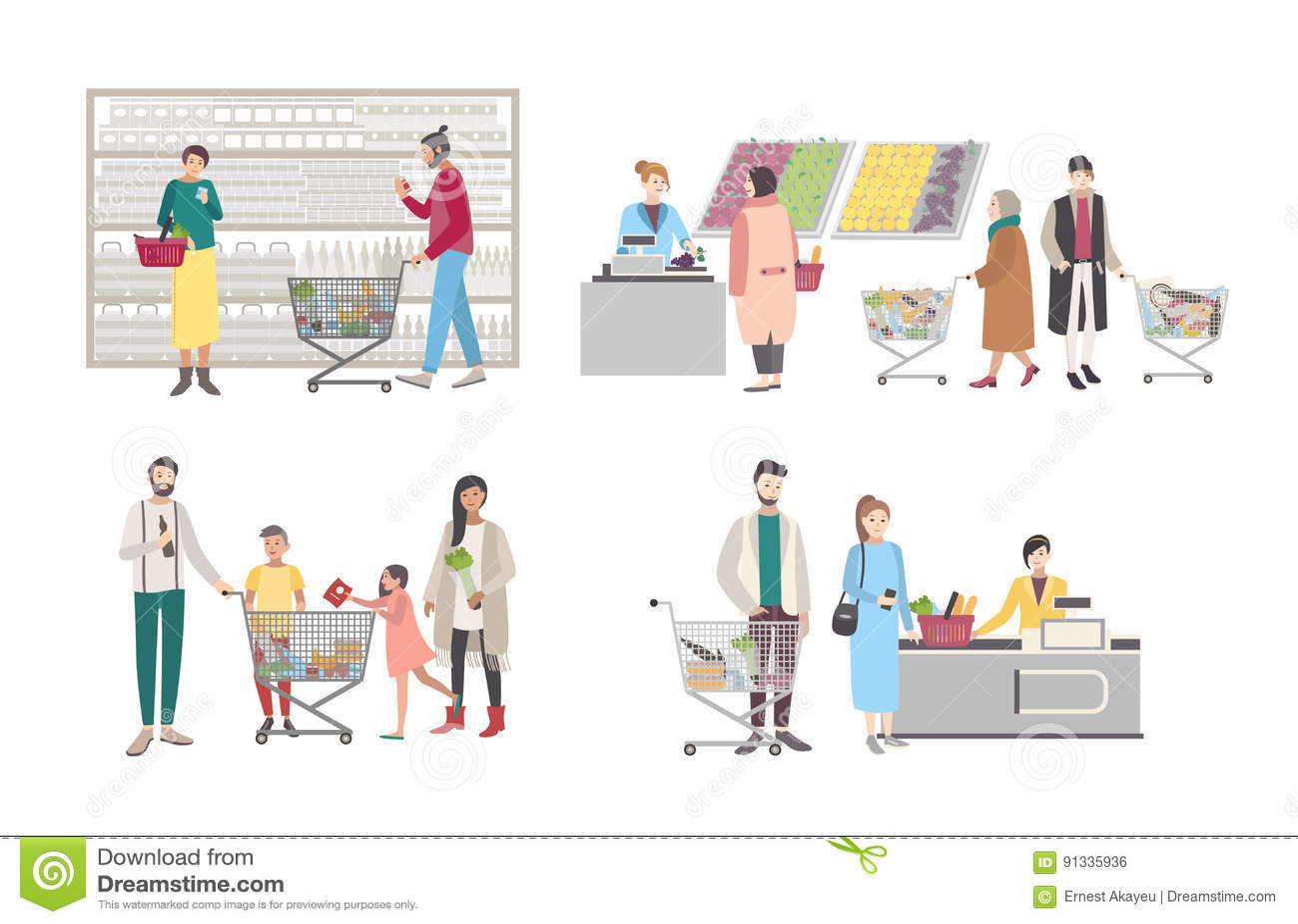Concept voor supermarkt of winkel De reeks met koperskarakters bij het kasregister, dichtbij de rekken, woog goederen, mensen