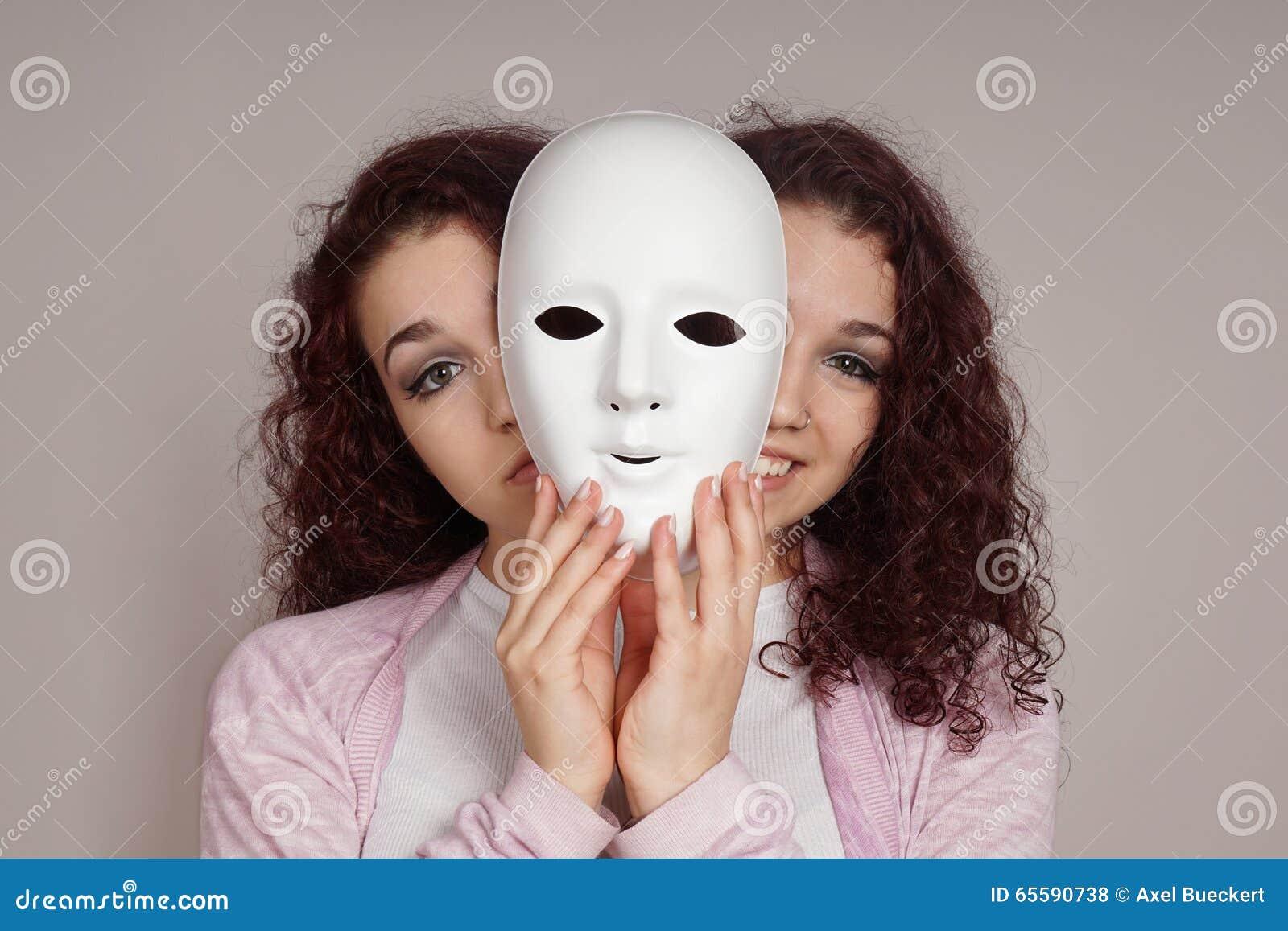 Concept vrouwen van de met twee aangezichten manic depressie