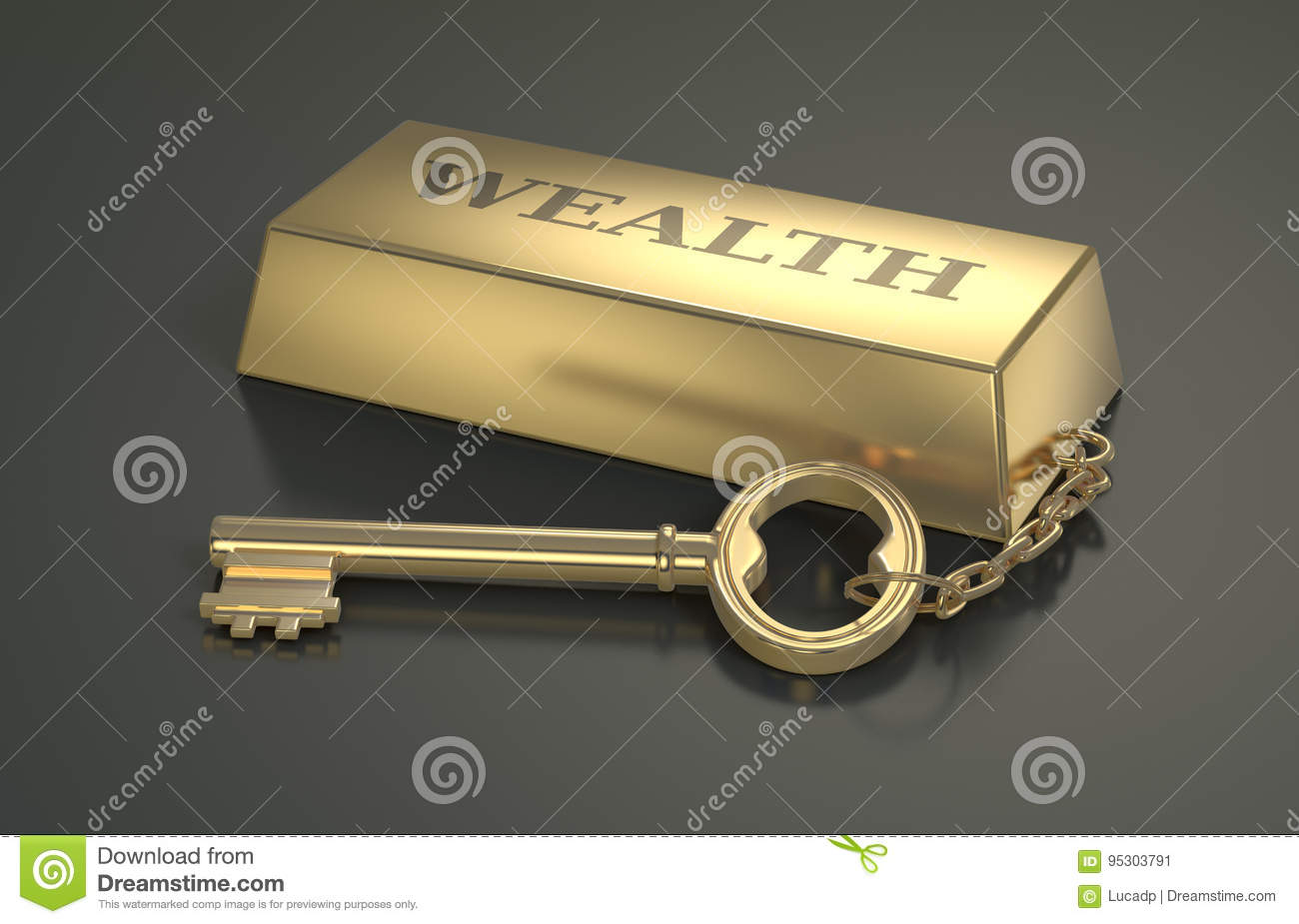 With golden key 3d rendering plan concept with golden key 3d rendering - Concept Of Wealth One Gold Bar Keyring With Text Wealth 3d Render