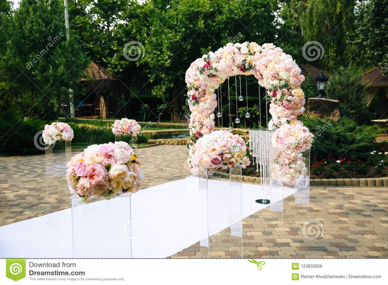 The Concept Of Wedding Decor, Street Decoration, Wedding Arch Is ...