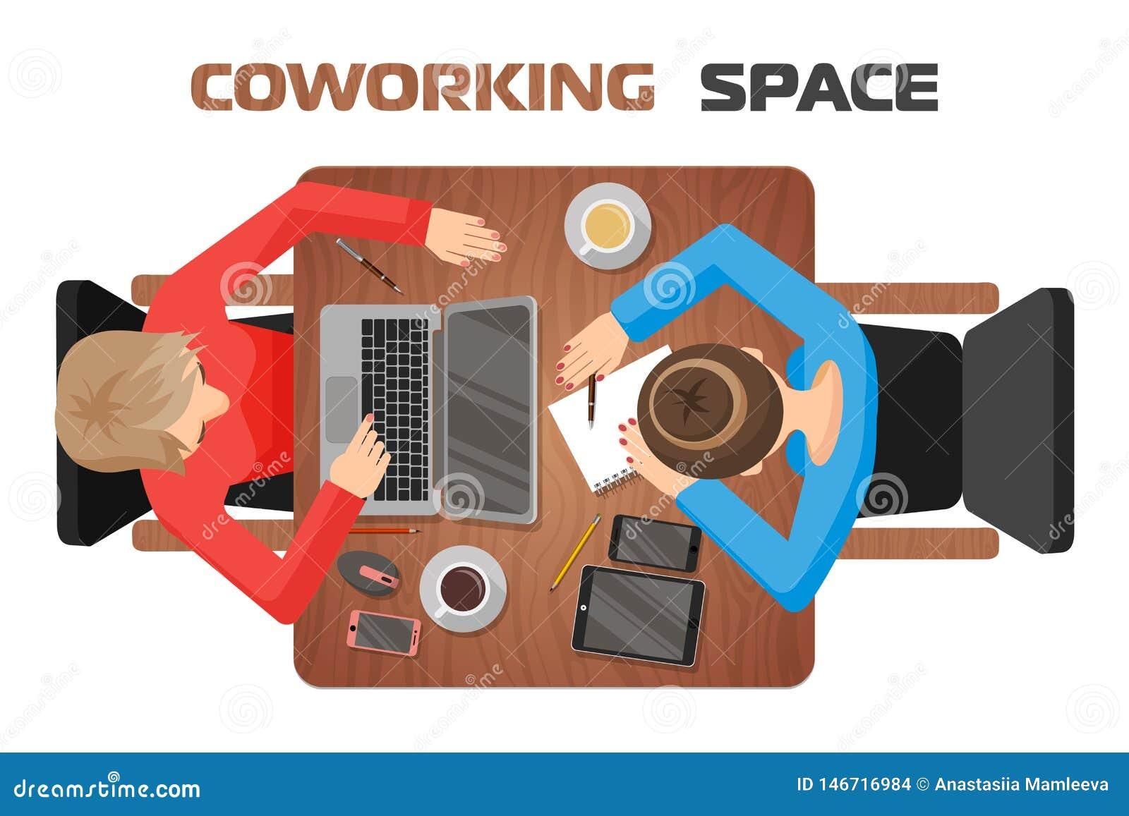 Concept werkplaatsen in het coworking van ruimte voor twee mensen Twee meisjes bij het bureau